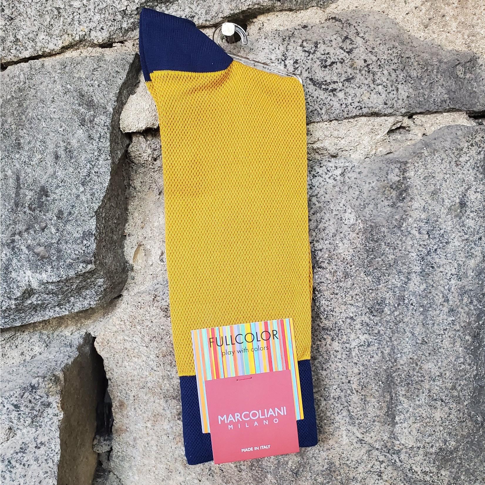 Marcoliani Marcoliani Pima Cotton Socks - Mustard Contrast Piqué