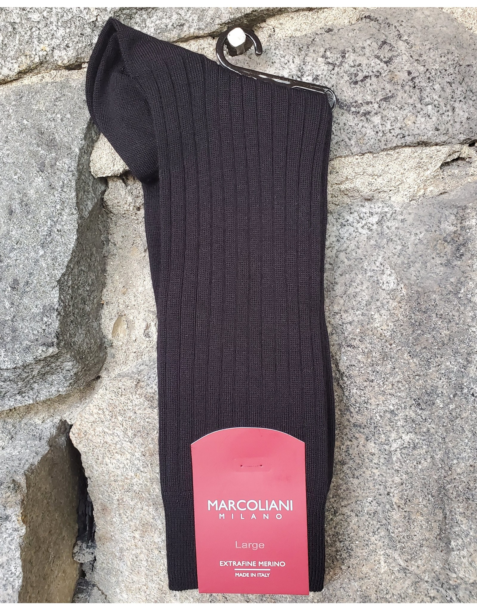 Marcoliani Marcoliani LARGE Extrafine Merino Socks - Black Ribbed Dress