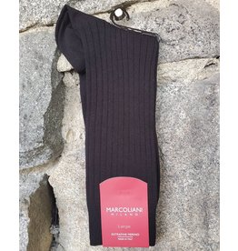 Marcoliani Marcoliani LARGE Extrafine Merino Socks - Black Ribbed Dress