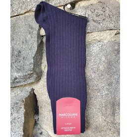 Marcoliani Marcoliani LARGE Extrafine Merino Socks - Navy Ribbed Dress