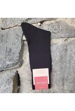 Marcoliani Marcoliani Extrafine Merino Socks - Black Ribbed Dress