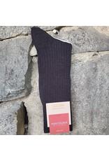 Marcoliani Marcoliani Extrafine Merino Socks - Charcoal Ribbed Dress
