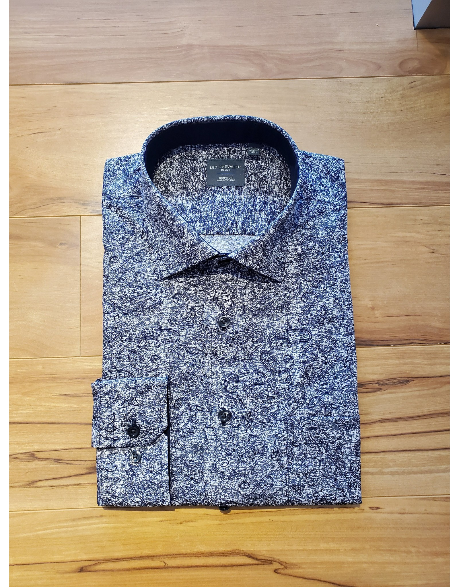Leo Chevalier Leo Chevalier Long Sleeve Classic Fit Shirt - Tone-on-Tone Grey Paisley