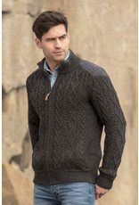Aran Crafts Aran Crafts Z4624 Zippered Sweater W/ Patch Shoulder