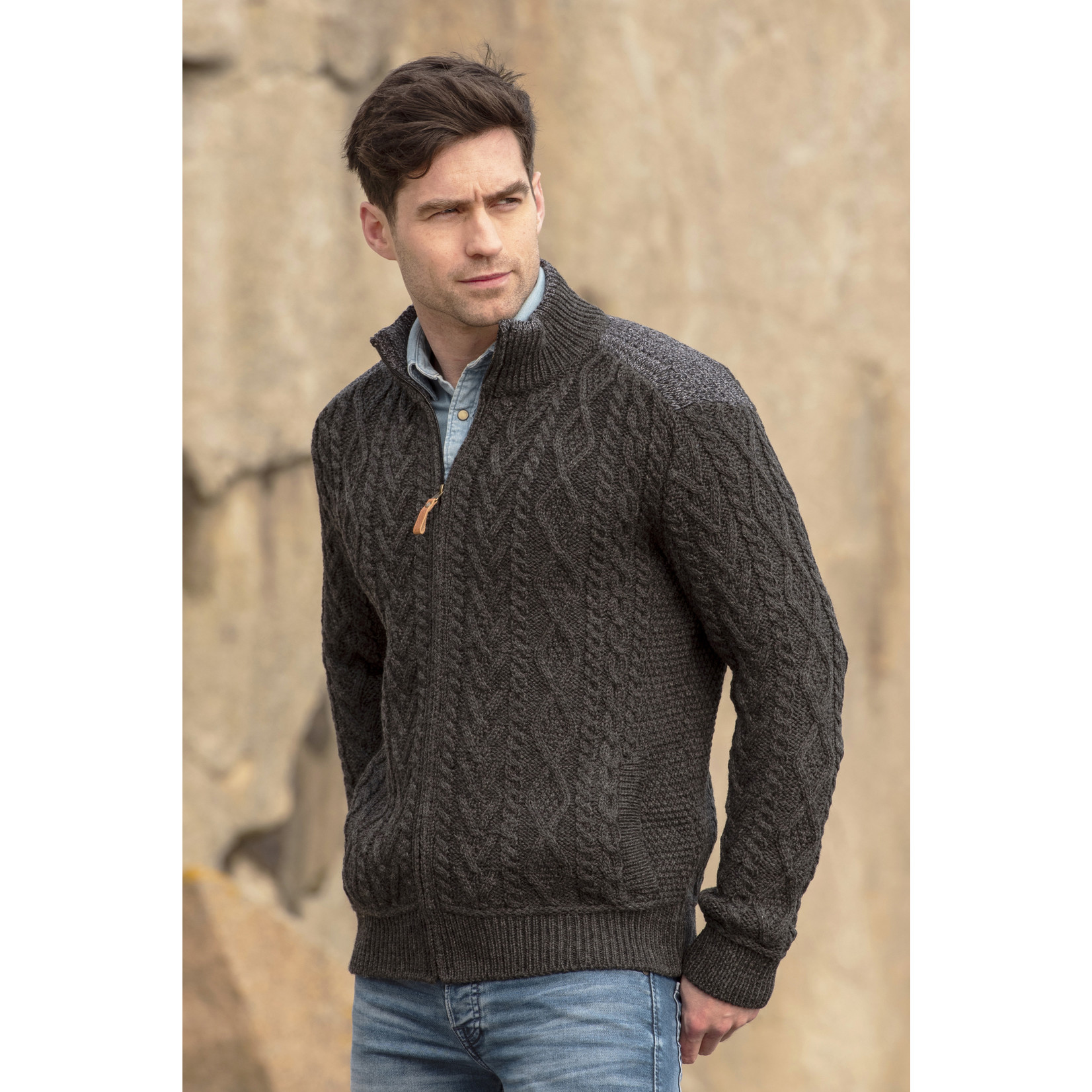 Aran Crafts Aran Crafts Z4624 Zippered Sweater W/ Patch Shoulder
