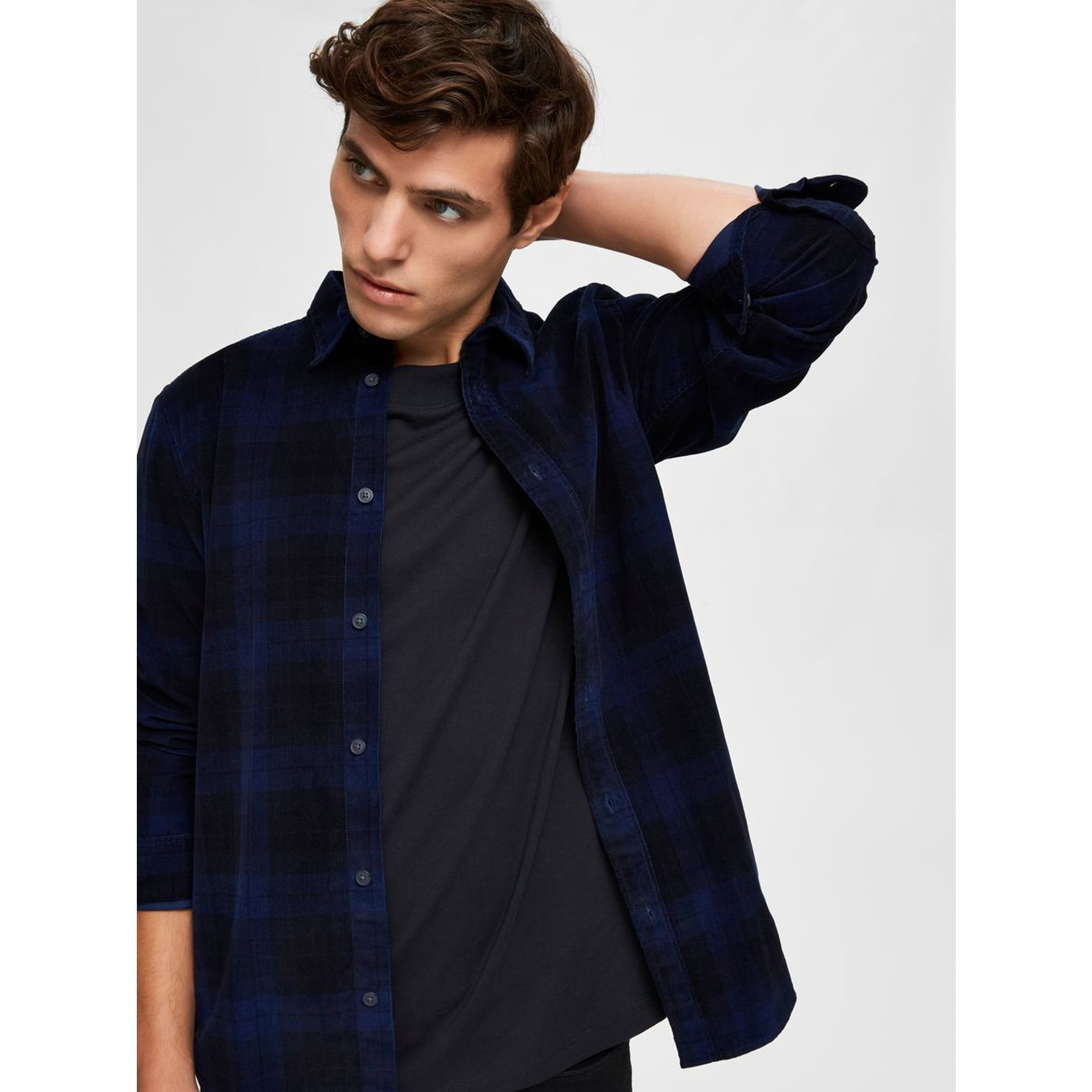 Selected Homme Selected 16075036 Adrian Long Sleeve Cord Shirt - Dark Blue Check