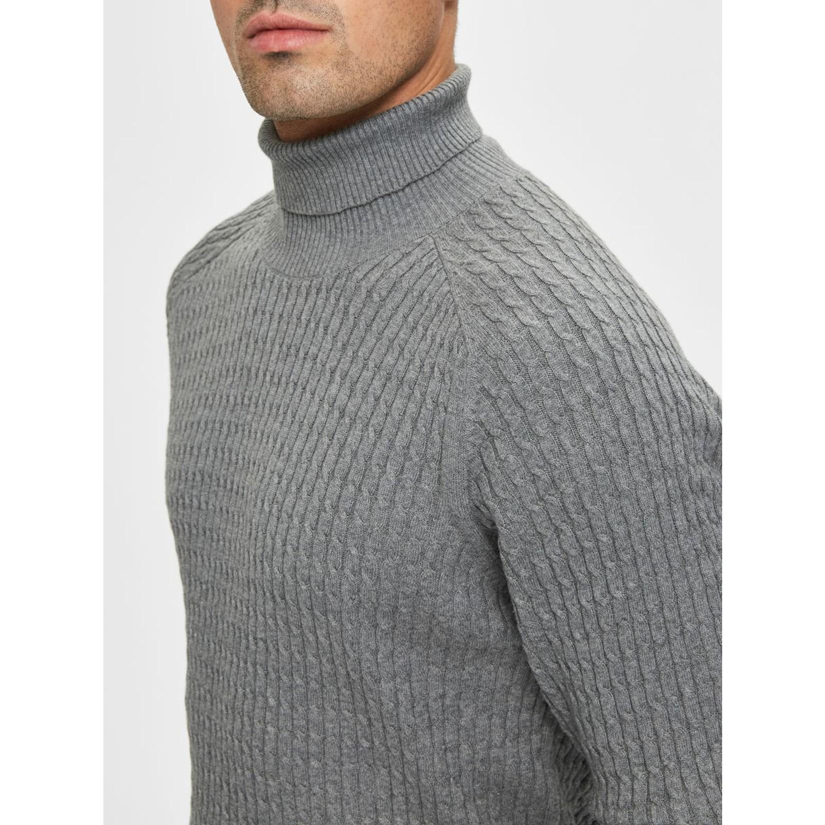 Selected Homme Selected 16069113 Carlos Roll Neck Sweater - Medium Grey Melange