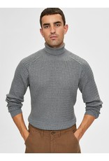 Selected Homme Selected 16069113 Carlos Roll Neck Sweater - Medium Grey Melange