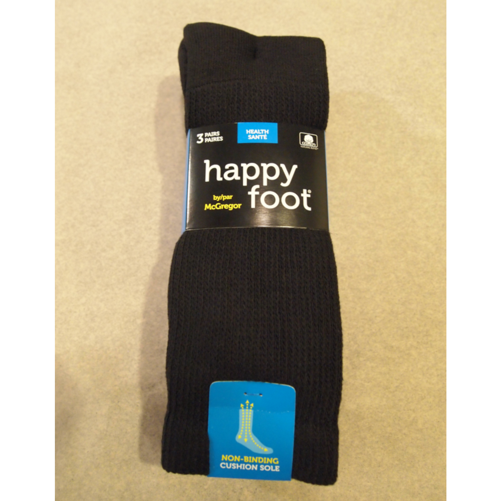 McGregor McGregor Happy Foot 3-Pk Health Crew Sock Black