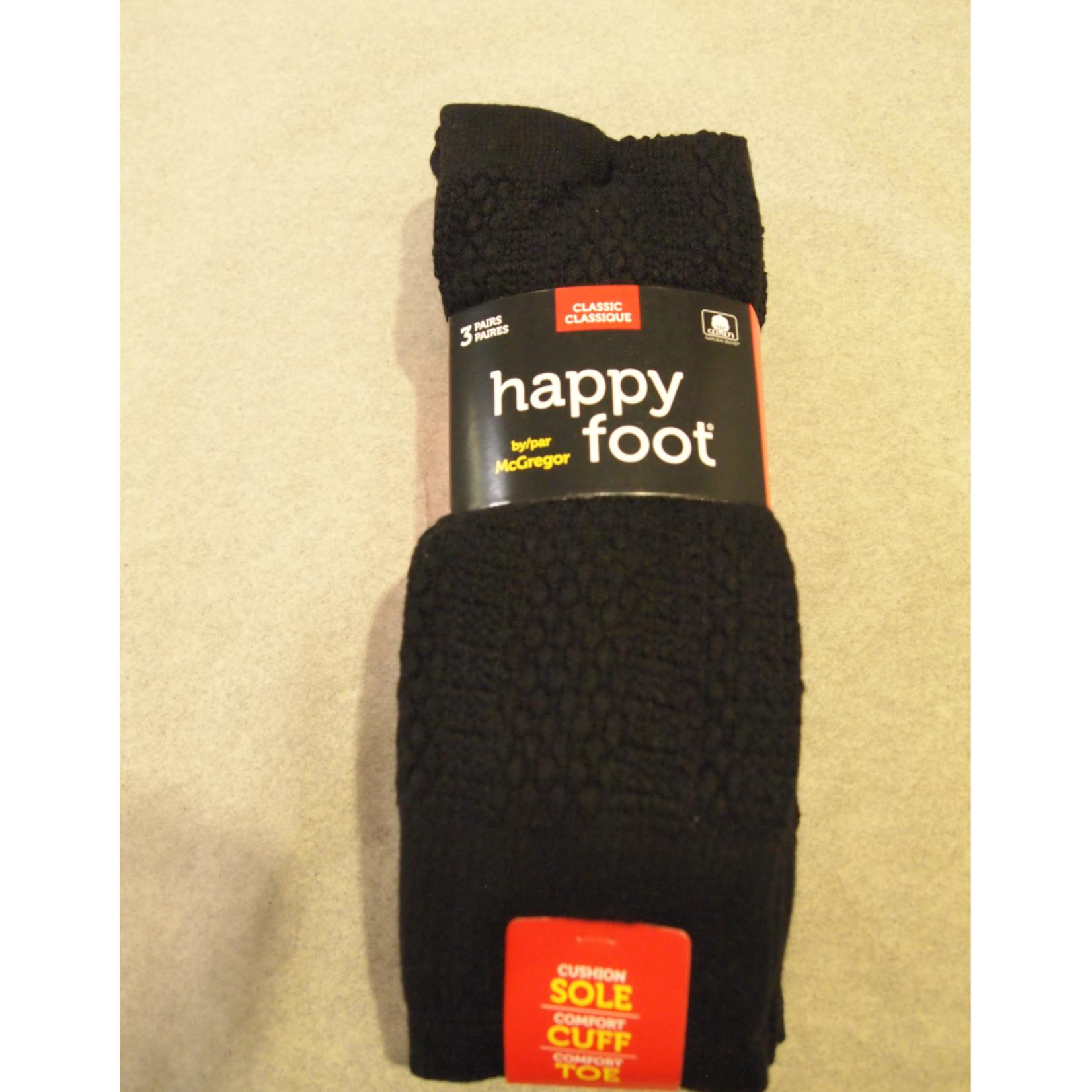 McGregor McGregor Happy Foot 3-Pk Classic Crew Sock Black