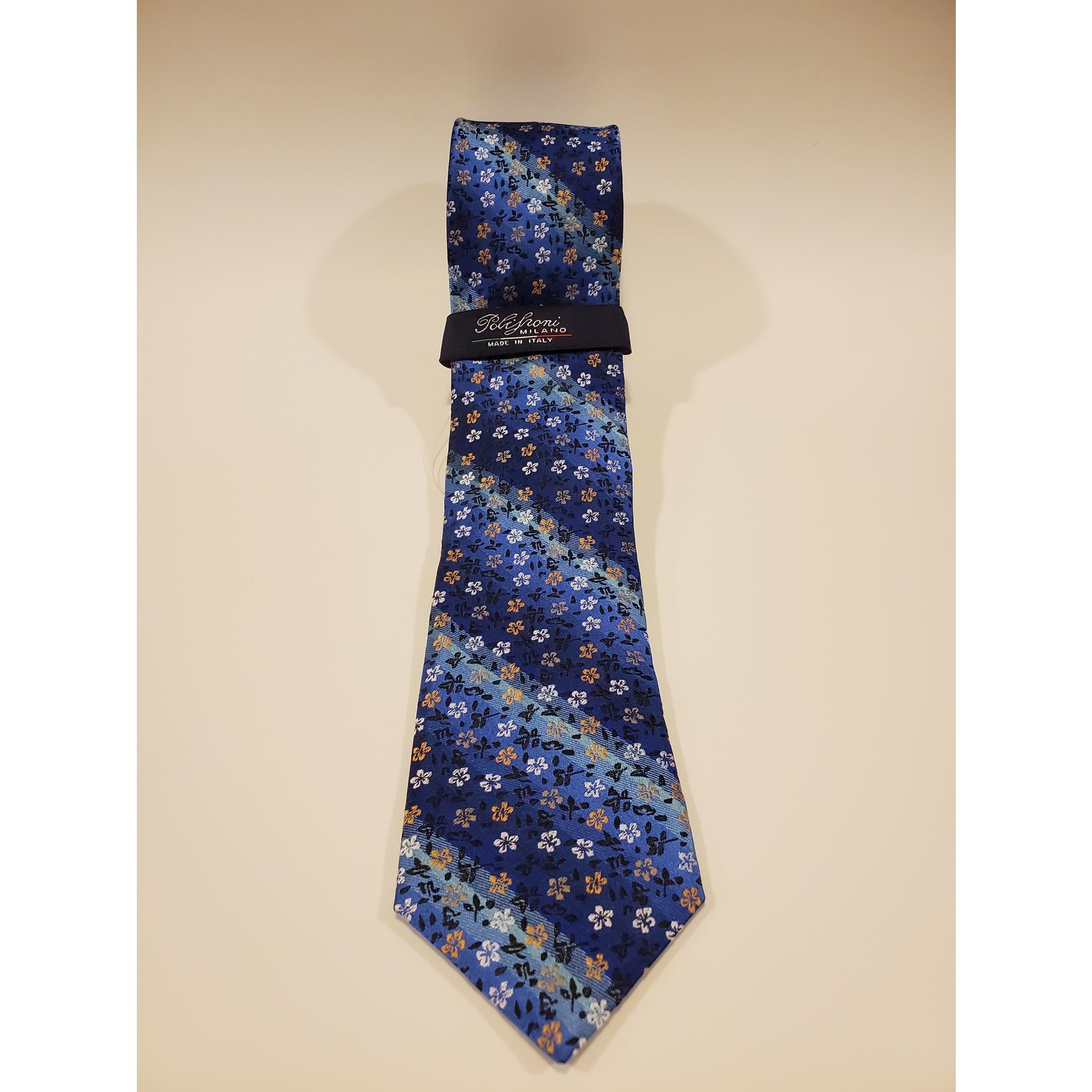 Polifroni Polifroni 211905 Jacquard Micro Floral Pattern Silk Tie