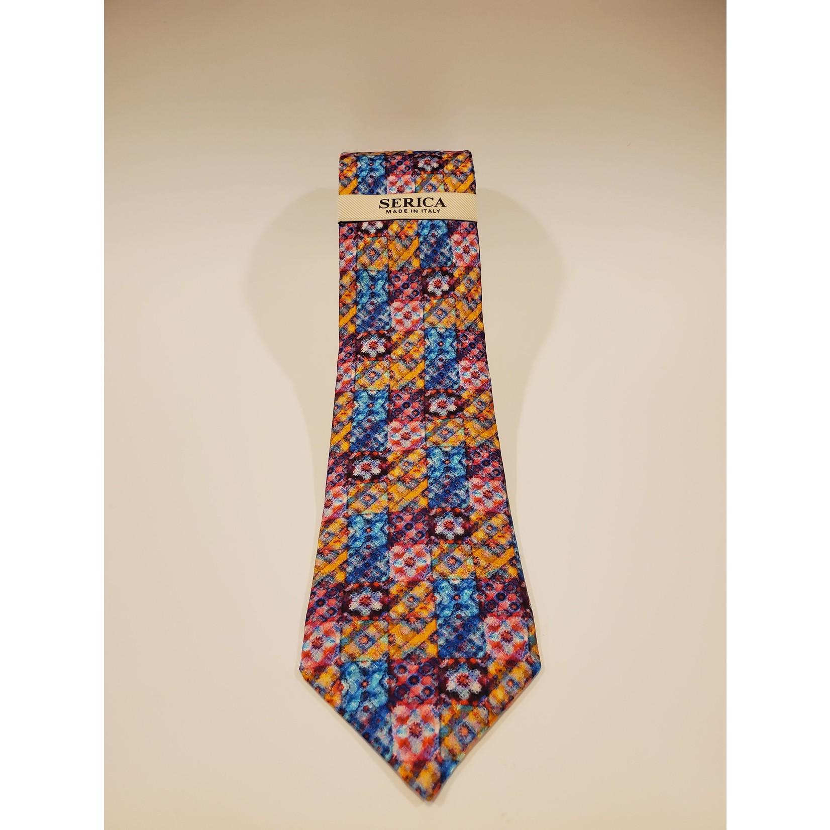 Serica 212606 Printed Square Pattern Silk Tie