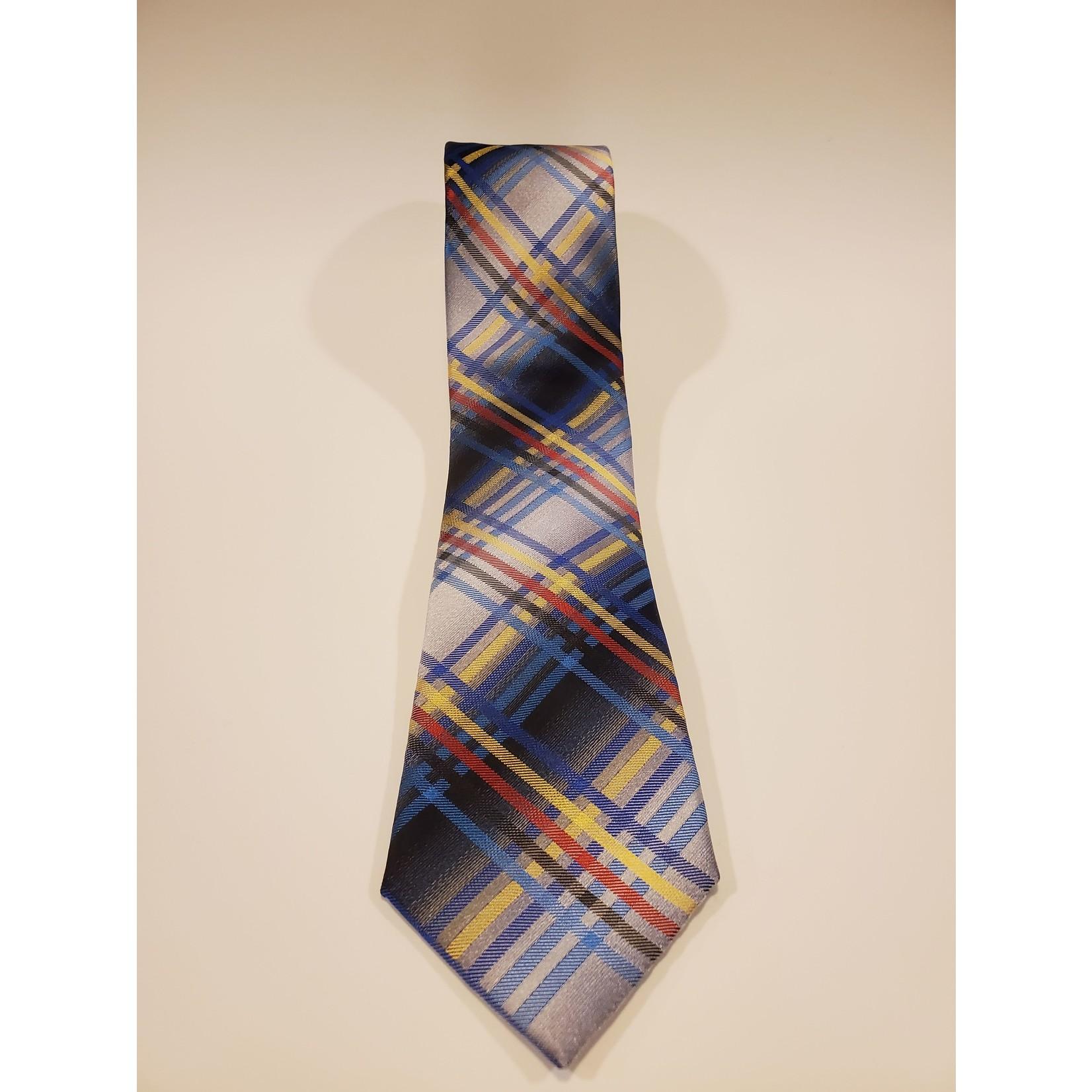 Polifroni Blu 201252 Jacquard Plaid Silk Tie