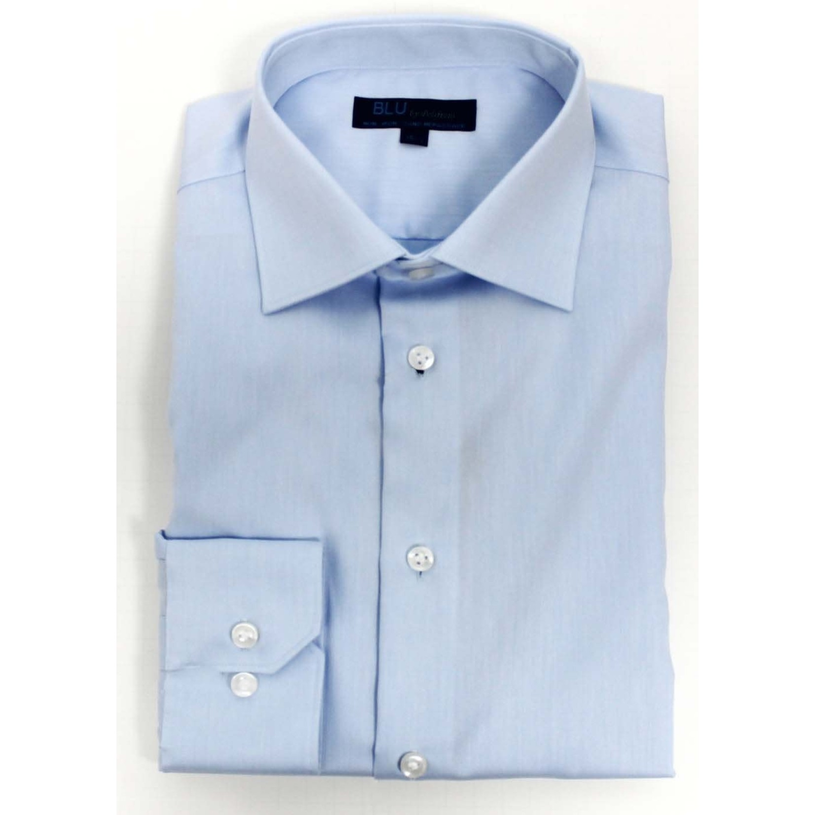 Polifroni Blu-360M Miami Non-Iron Dress Shirt 18 Light Blue