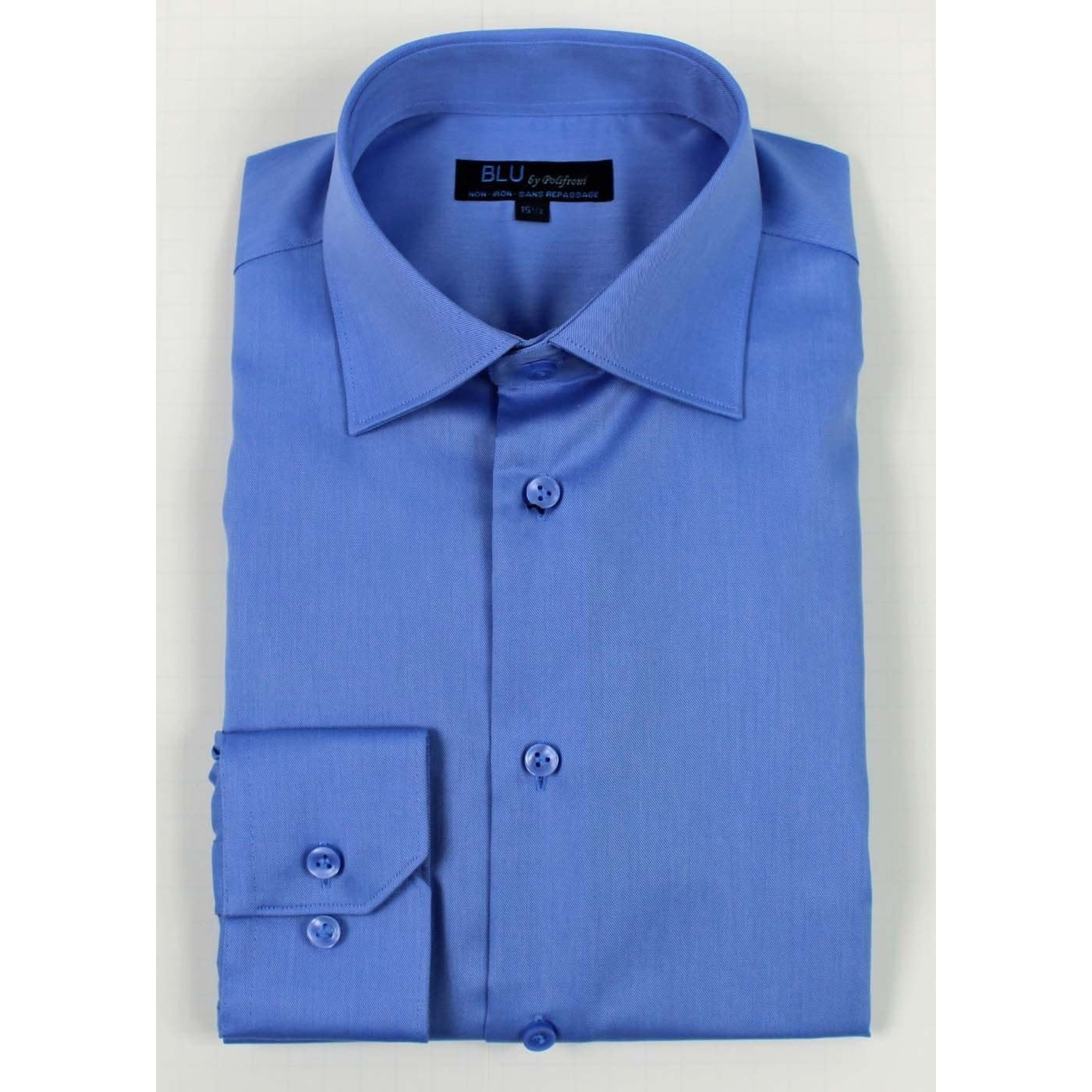 Polifroni Blu-360M Miami Non-Iron Dress Shirt 19 Mid Blue
