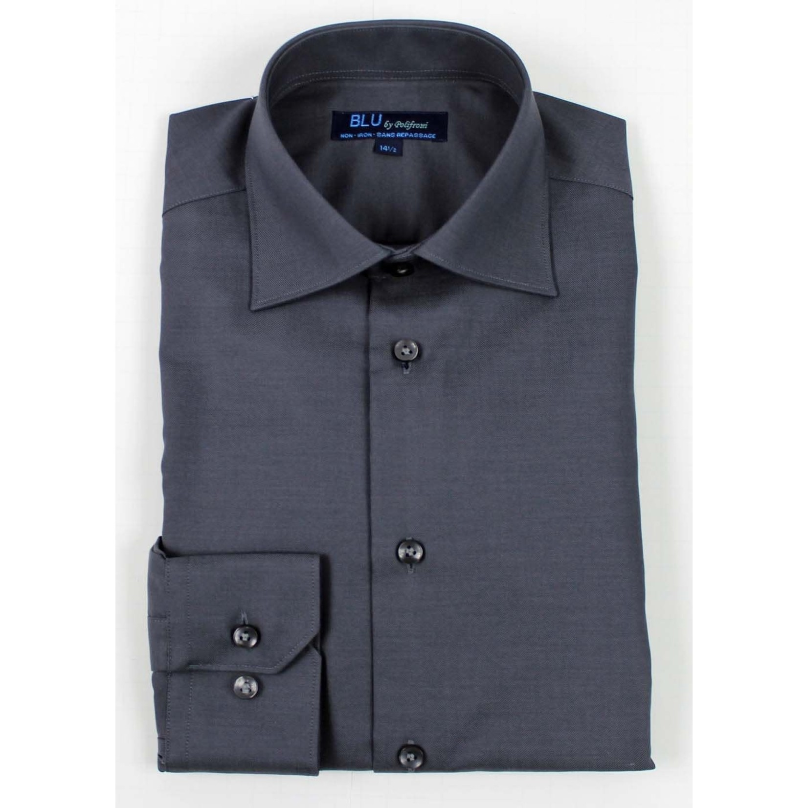 Polifroni Blu-360M Miami Non-Iron Dress Shirt 34 Charcoal