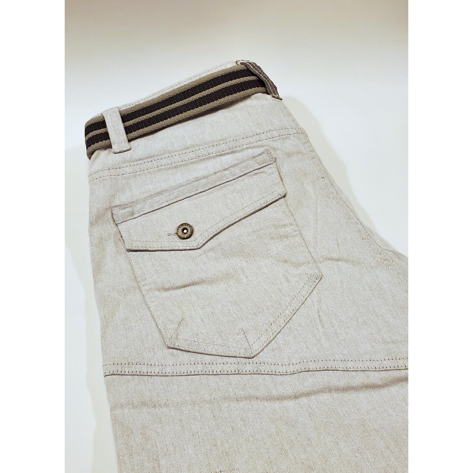Point Zero 7455475 Two-Tone Long Denim Shorts with Belt