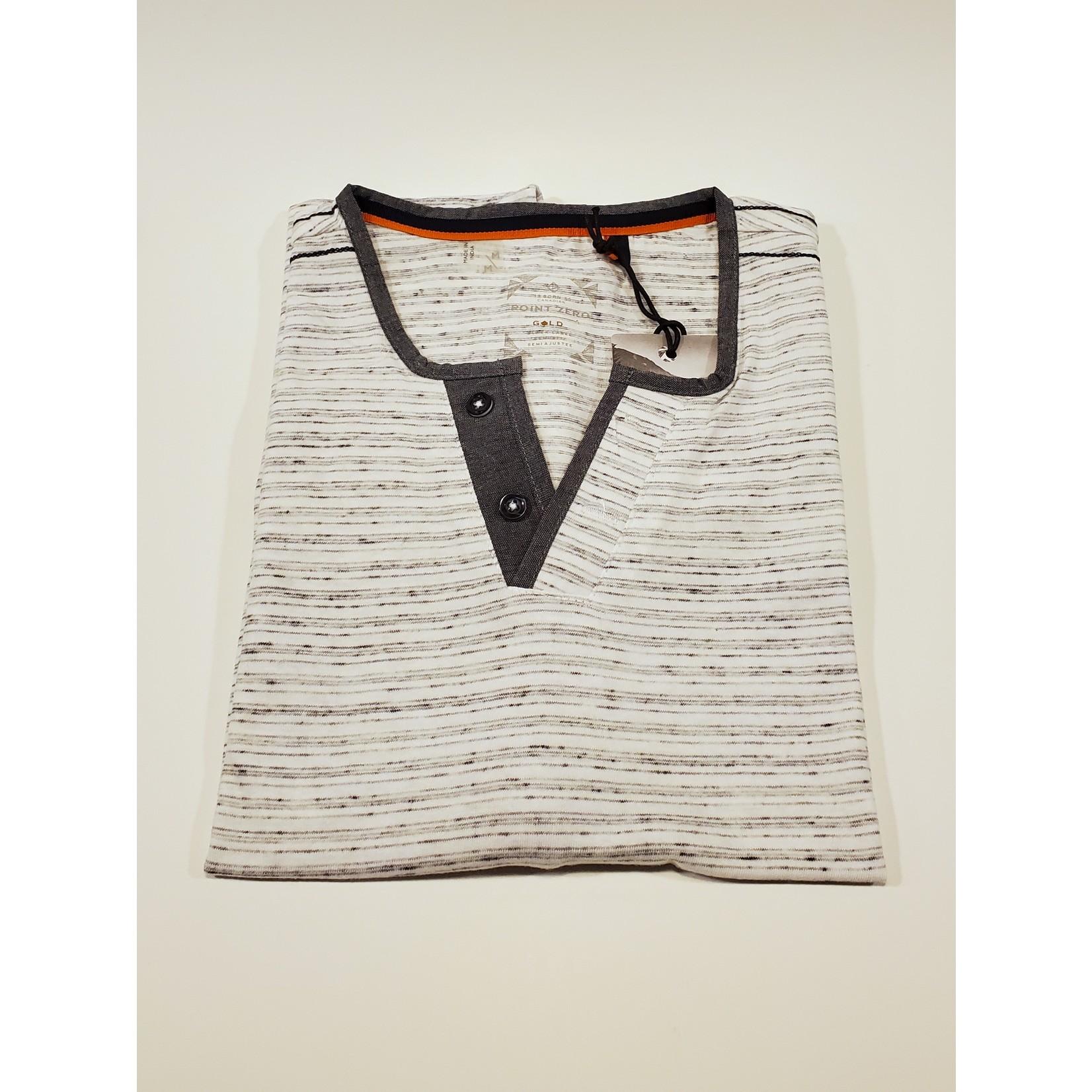 Point Zero 7451211 Short Sleeve V-Henley T-Shirt