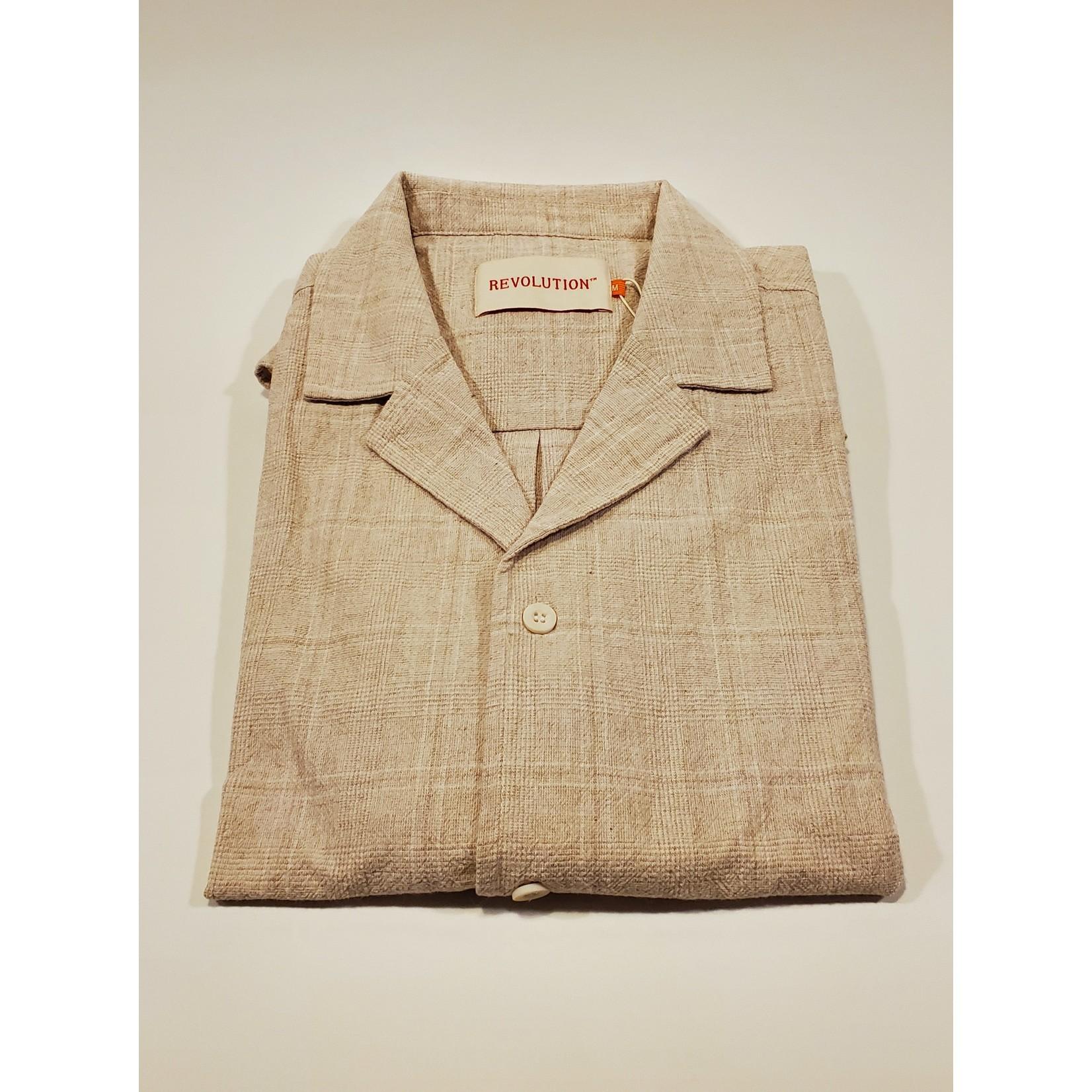RVLT Revolution RVLT 3809 Short-Sleeve Off-White Cuban Shirt