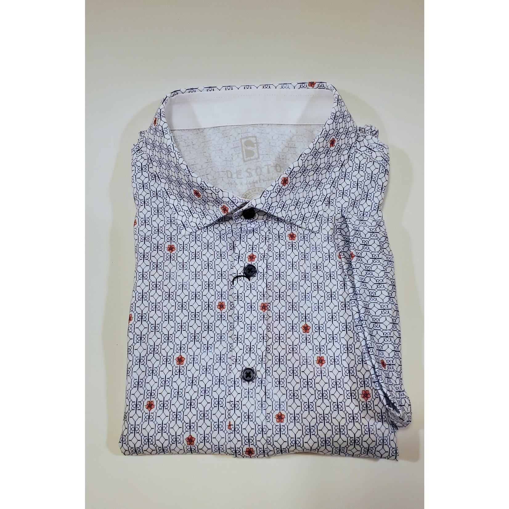 Desoto Desoto 412-35-3 SS Printed Spread Collar Shirt