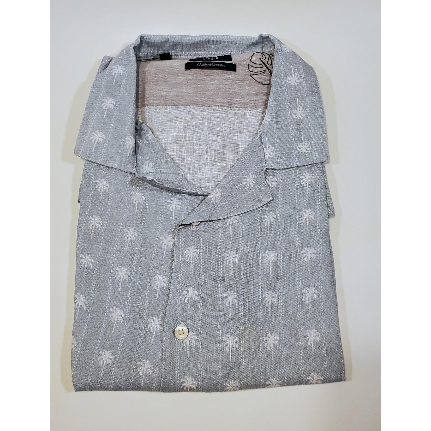 Benson Benson SKT83 Short Sleeve Printed Linen Camp Shirt