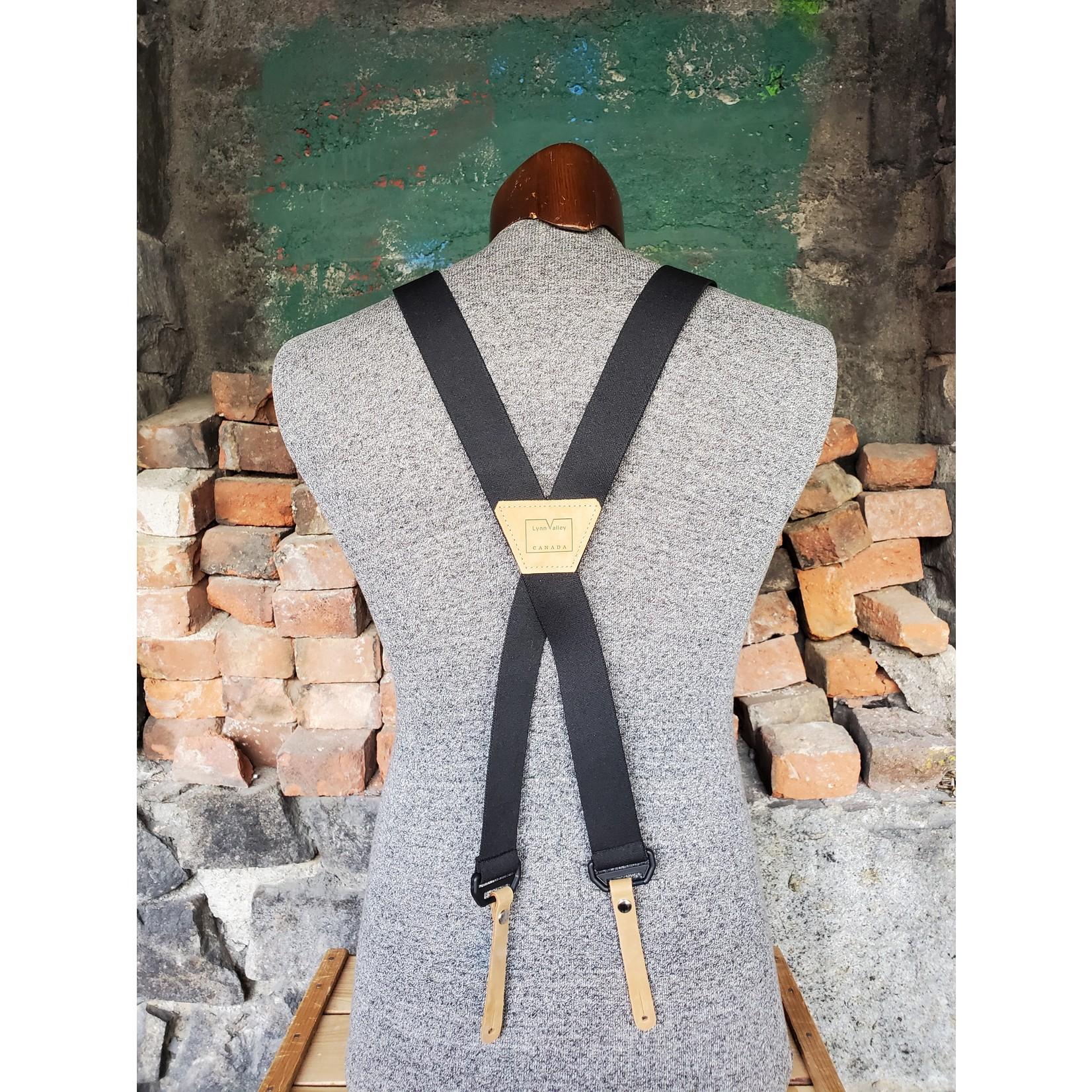 """Lynn Valley Mfg Lynn Valley 1.5"""" Button-On Suspender SB150-5 Black"""