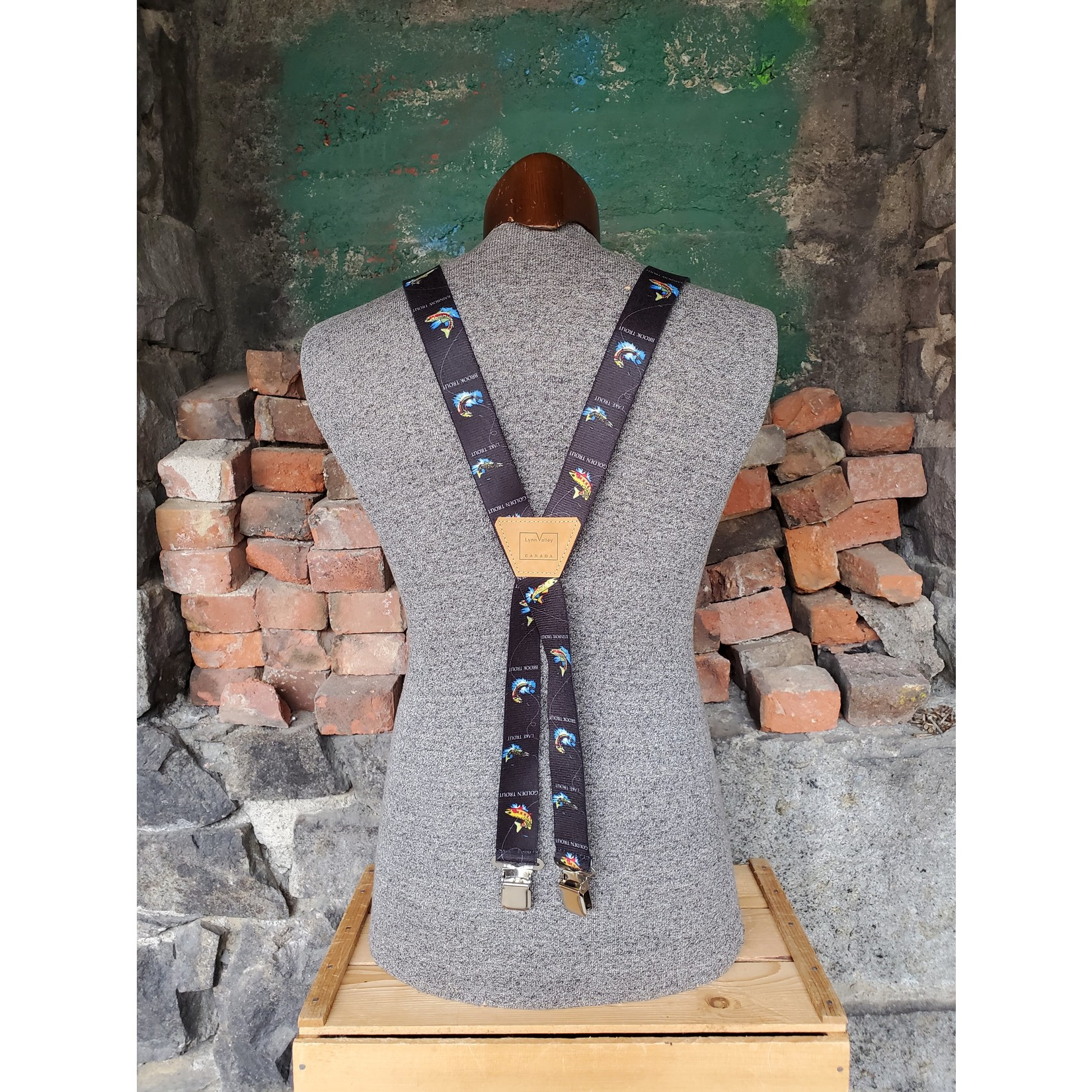 """Lynn Valley Mfg Lynn Valley Novelty 1.5"""" Suspender SCB150-4TS Black Trout"""