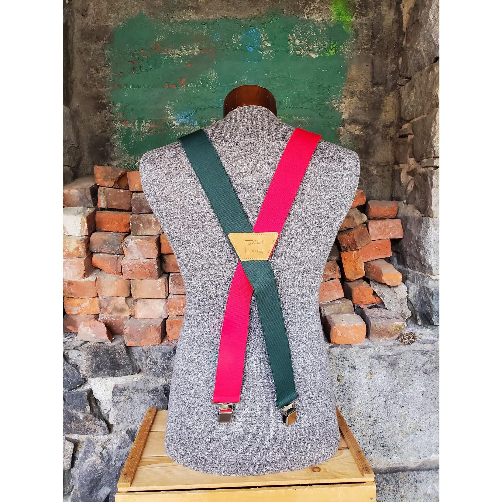 """Lynn Valley Mfg Lynn Valley Heavy Duty Novelty 2"""" Clip Suspender SCRG200-5 Red/Green"""