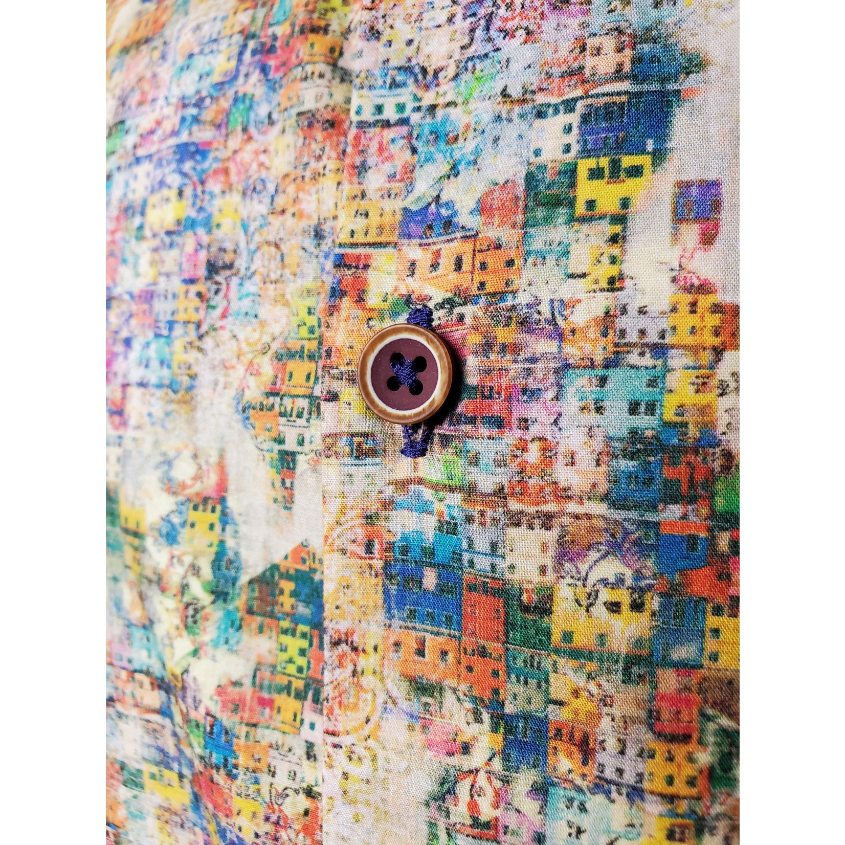 Oxley Multicolored Building Print OS6OC77 Long Sleeve Sportshirt