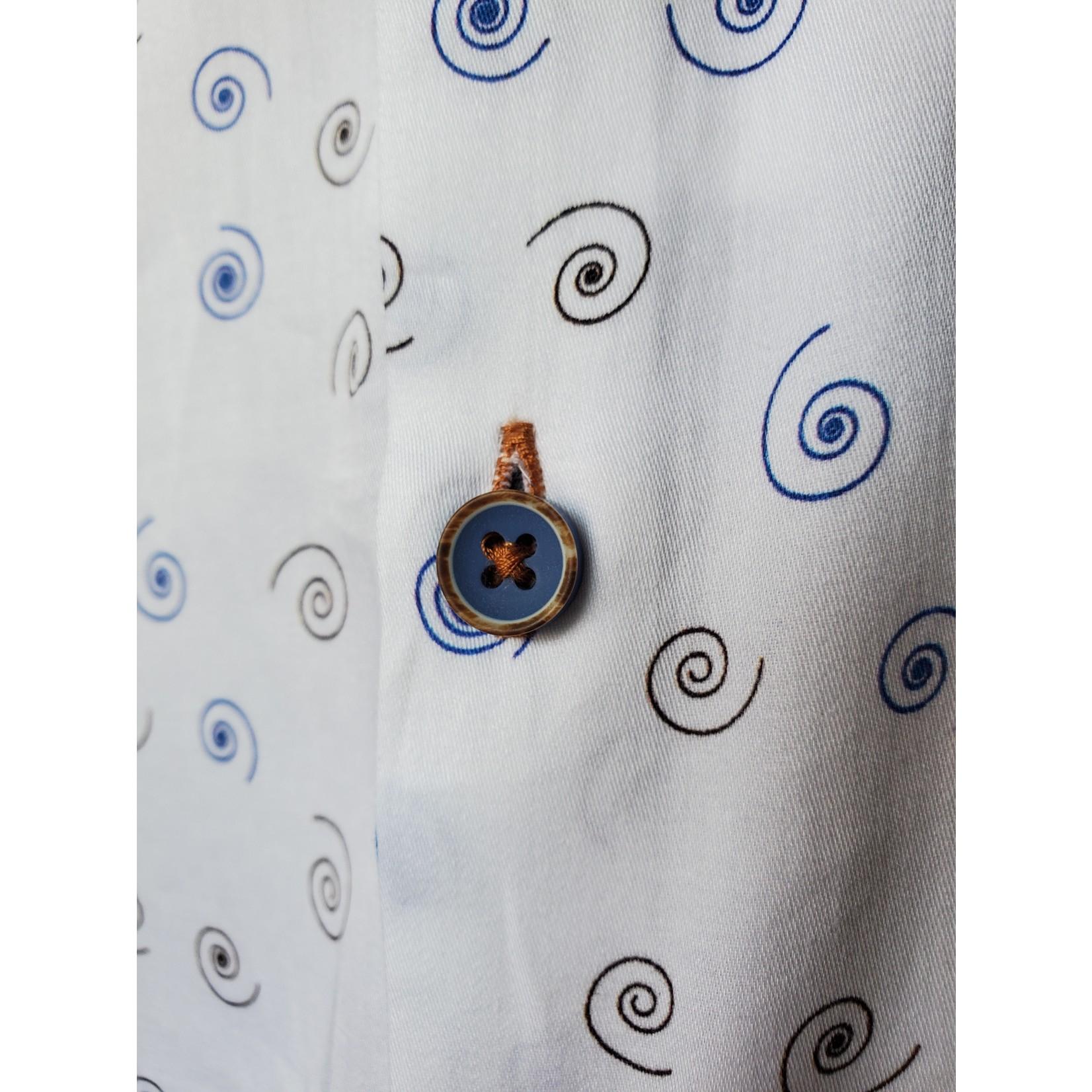 Oxley OS6OB2 Black & Blue Spiral Print Long-Sleeve Sportshirt