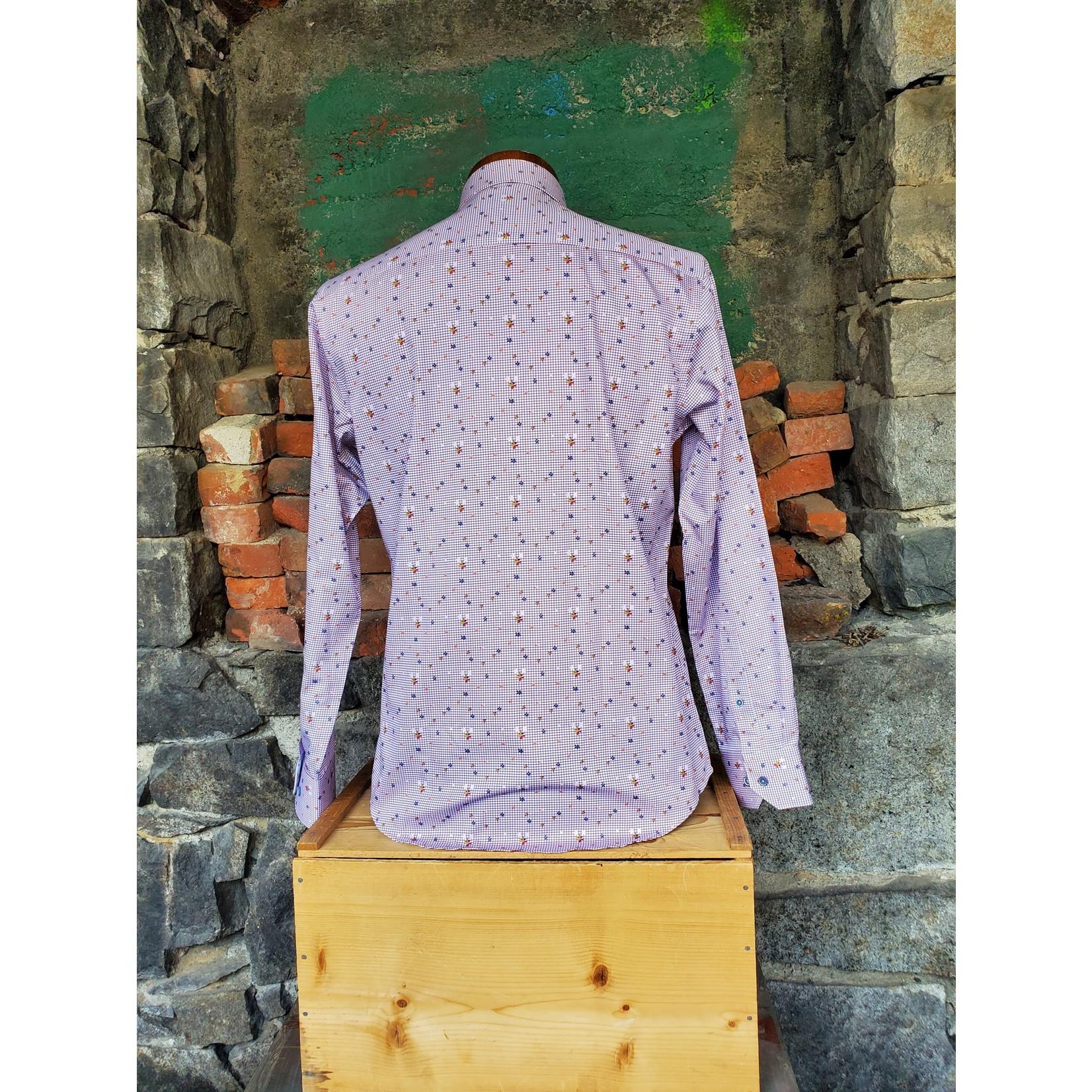 Oxley Floral Grid Print OS4OL5 Long-Sleeve Sportshirt