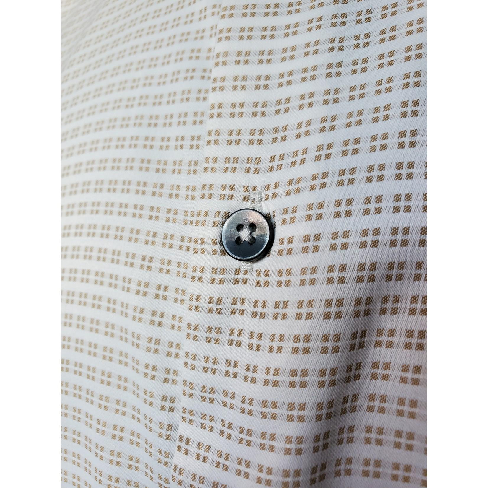Versa MR6AD50 Brown Geometric Print Button-Up Short-Sleeve Shirt
