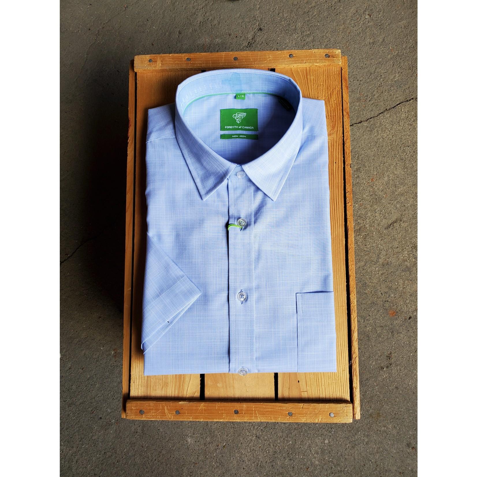 Forsyth Forsyth 8730S Yarn-Dyed Faux Solid Slub Short-Sleeve Shirt BLU Blue