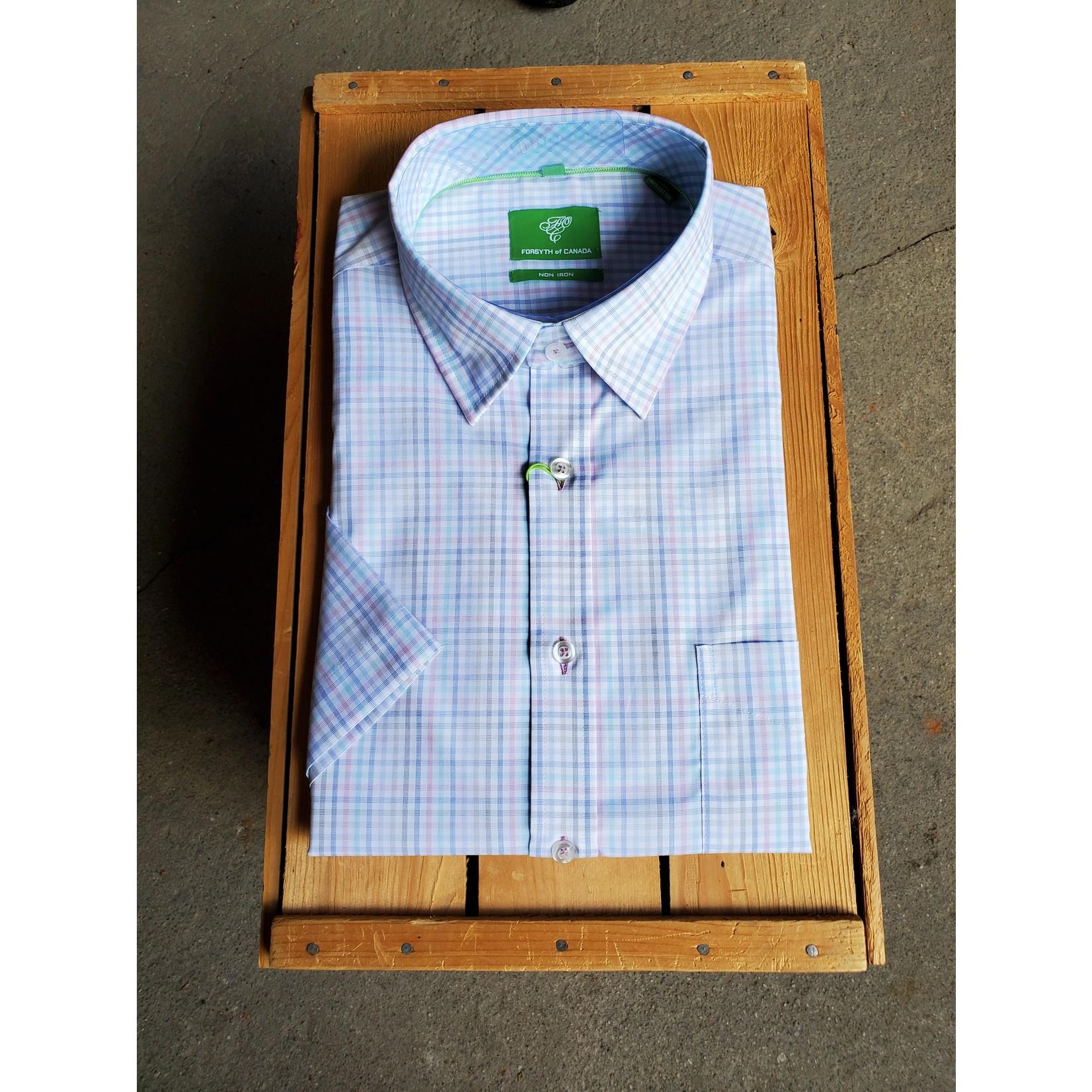 Forsyth Forsyth 8712S Yarn-Dyed End On End Check Short-Sleeve Shirt MIS Mist