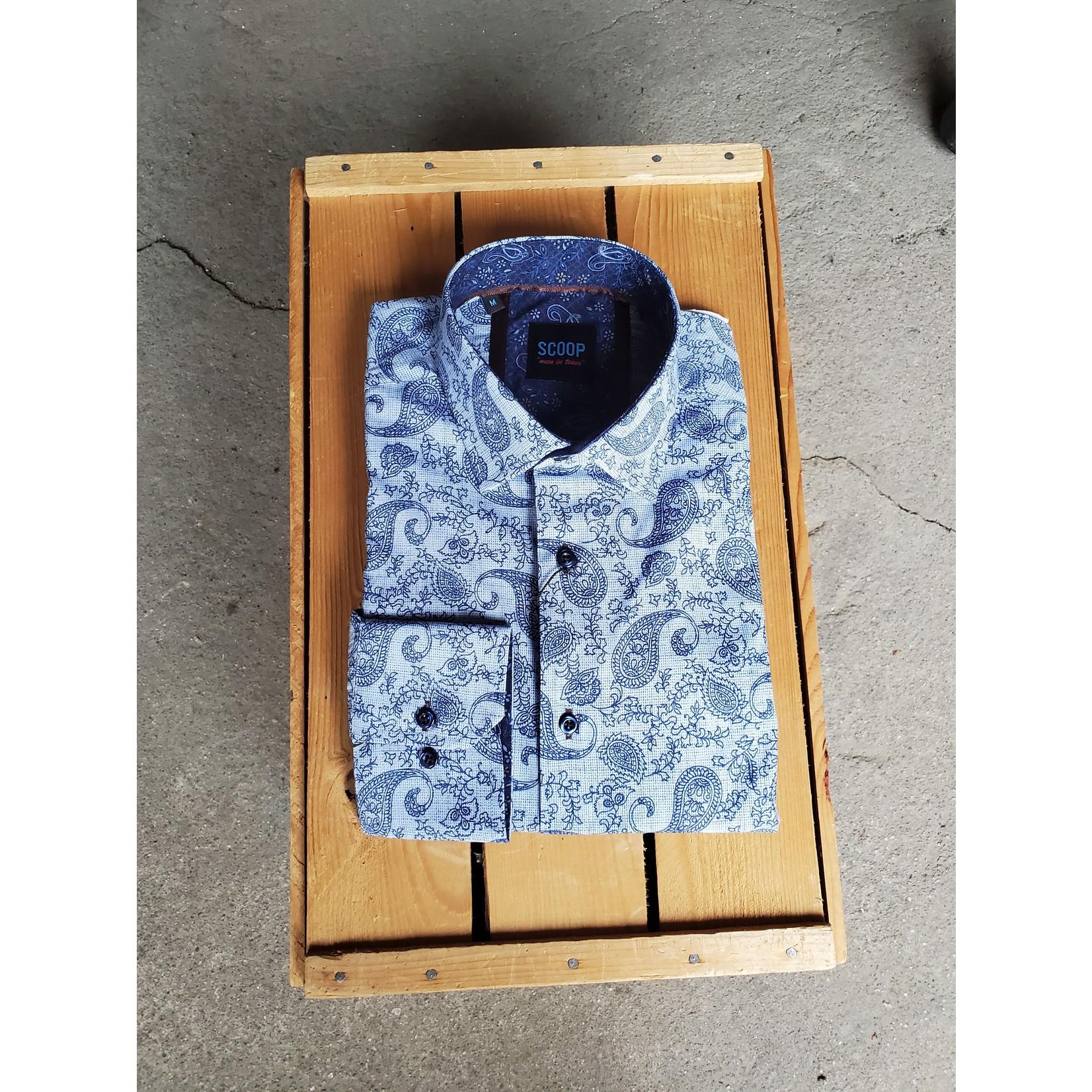 Scoop Kodiac Long-Sleeve Blue Paisley Shirt