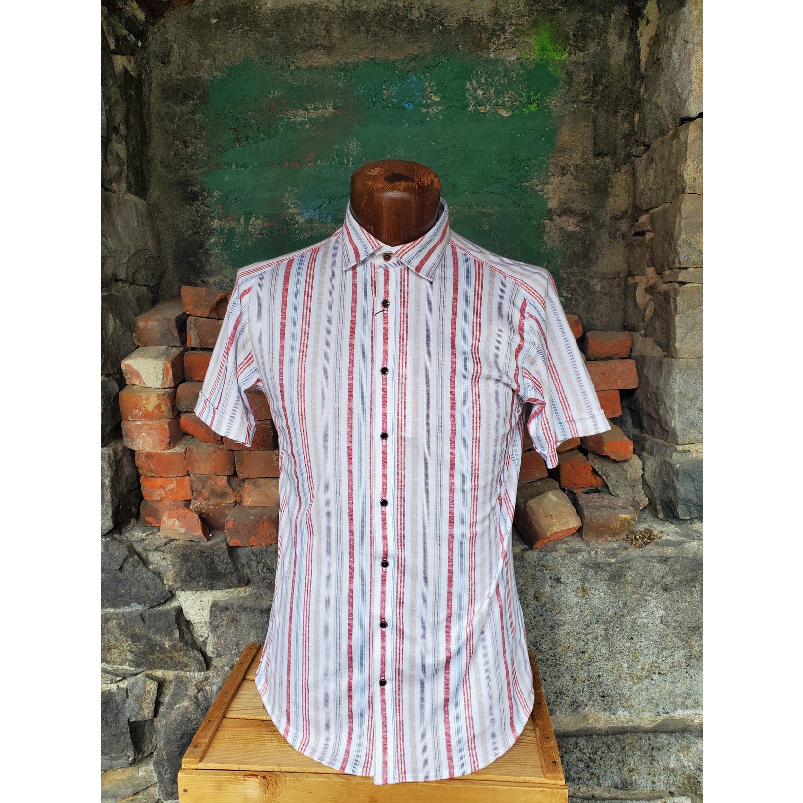 Desoto Desoto 430-35-3 Short-Sleeve Printed Spread Collar Jersey Shirt