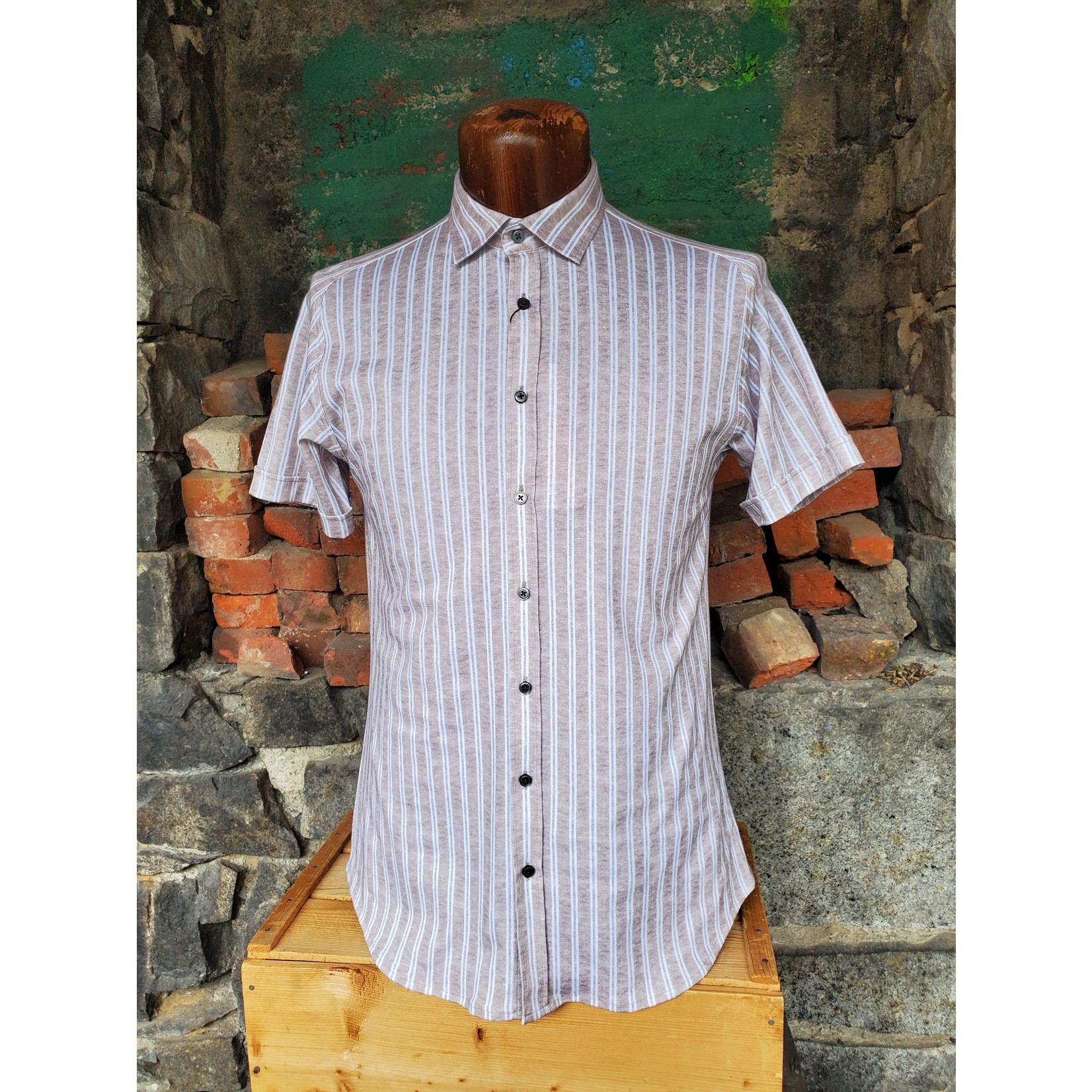 Desoto Desoto 433-35-3 Short-Sleeve Printed Spread Collar Jersey Shirt