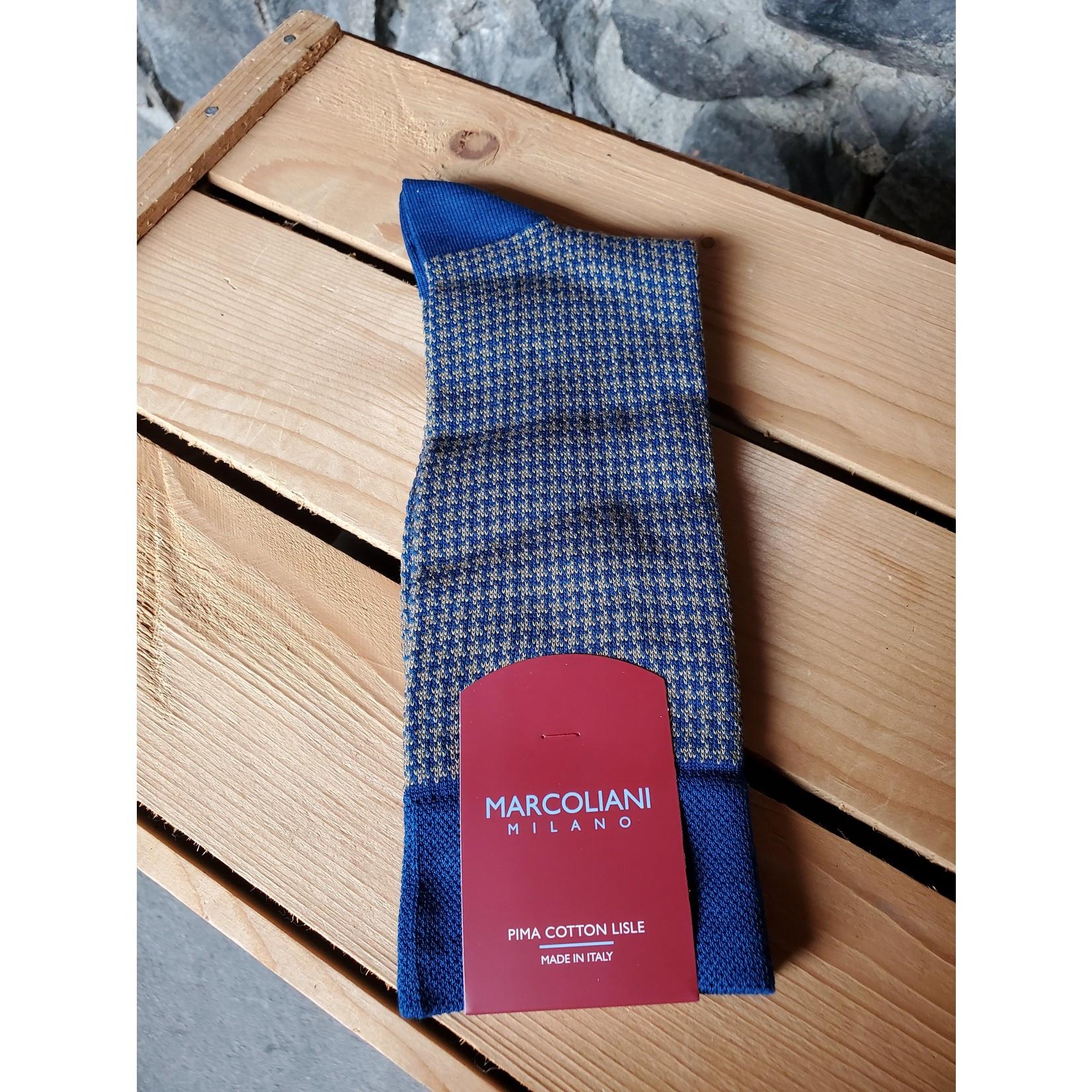 Marcoliani Marcoliani MAR3808T Pima Cotton Lisle Houndstooth Y29 Blue/Beige