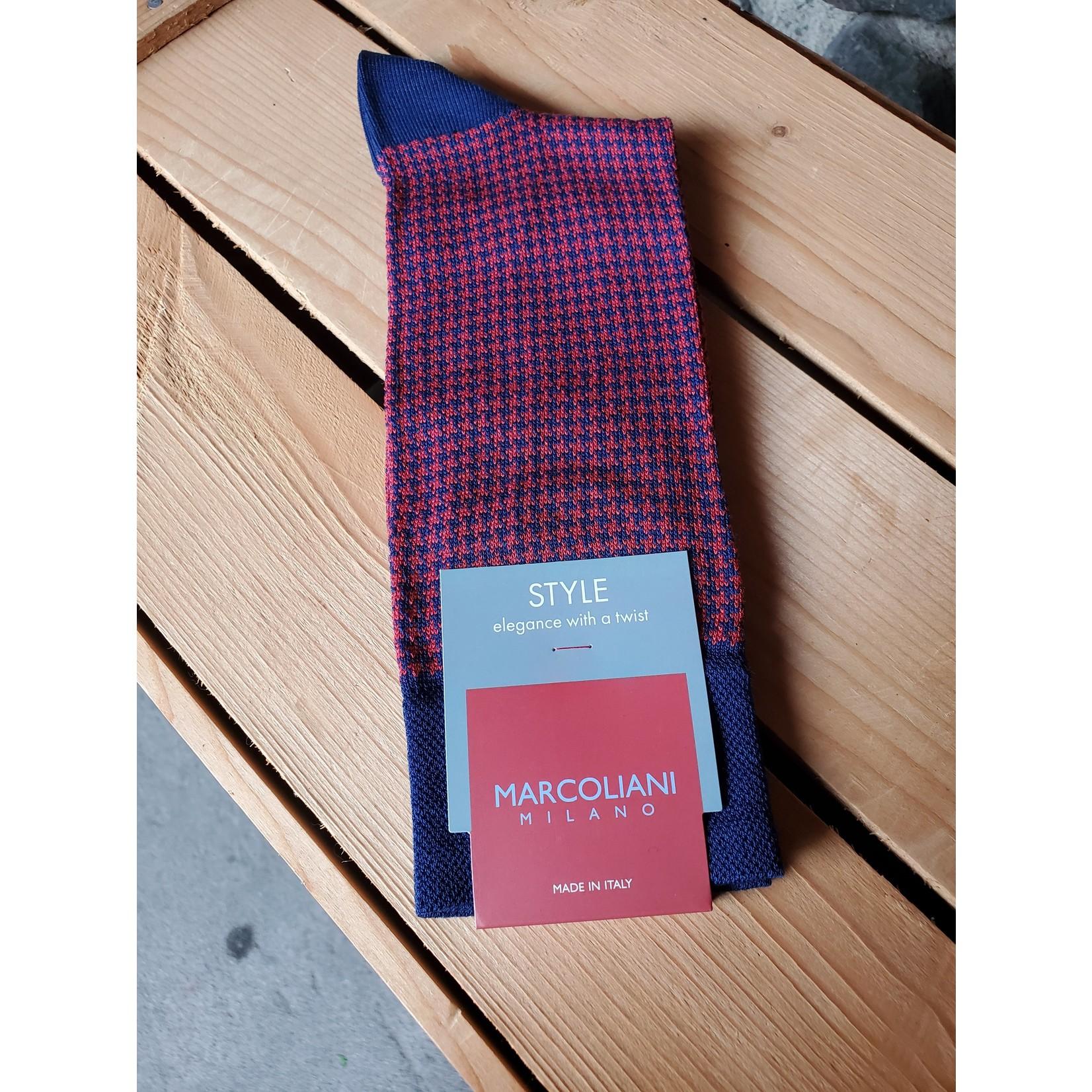 Marcoliani Marcoliani MAR3808T Pima Cotton Lisle Houndstooth Y04 Blue/Red