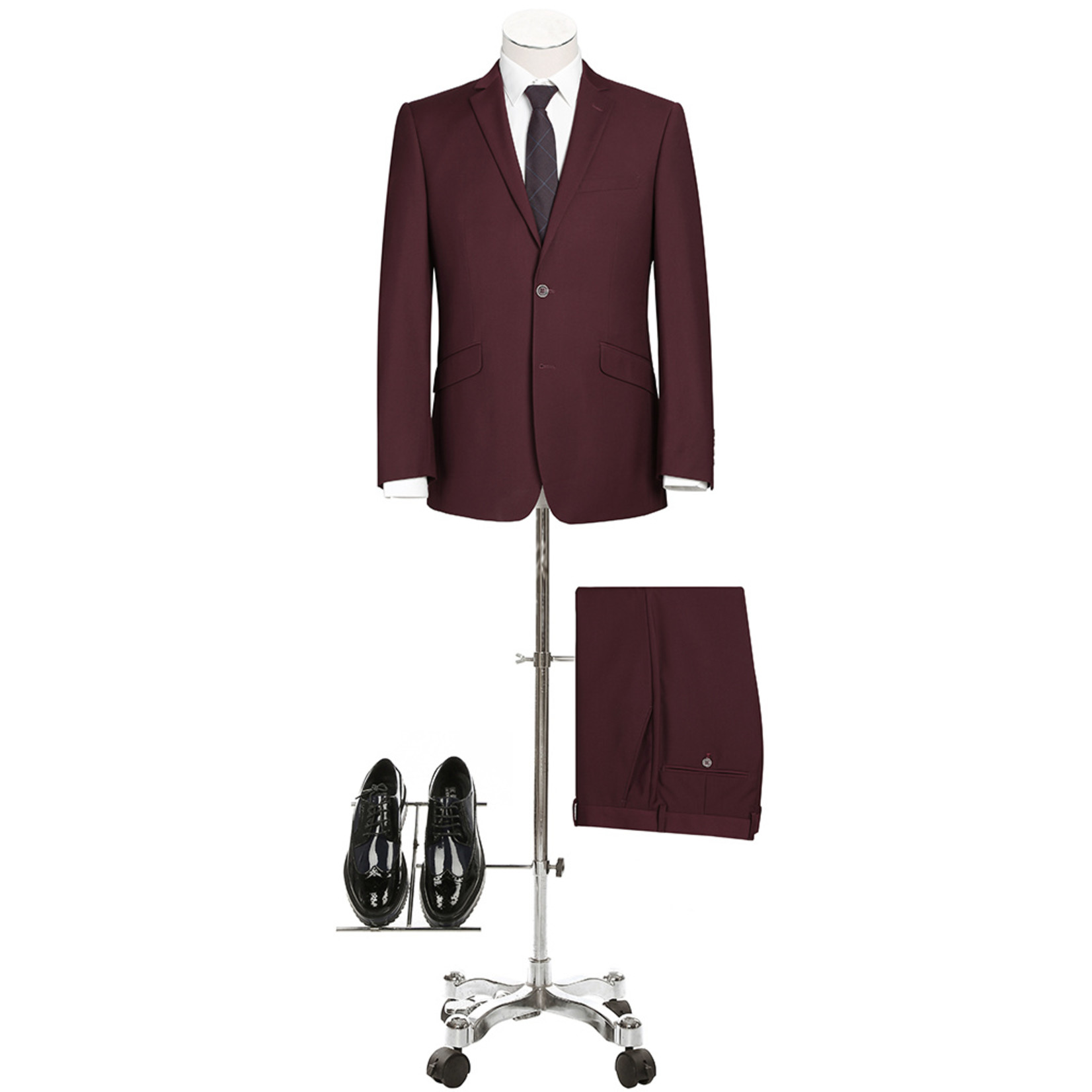 Renoir Renoir Slim Fit Suit 201-8 Burgundy