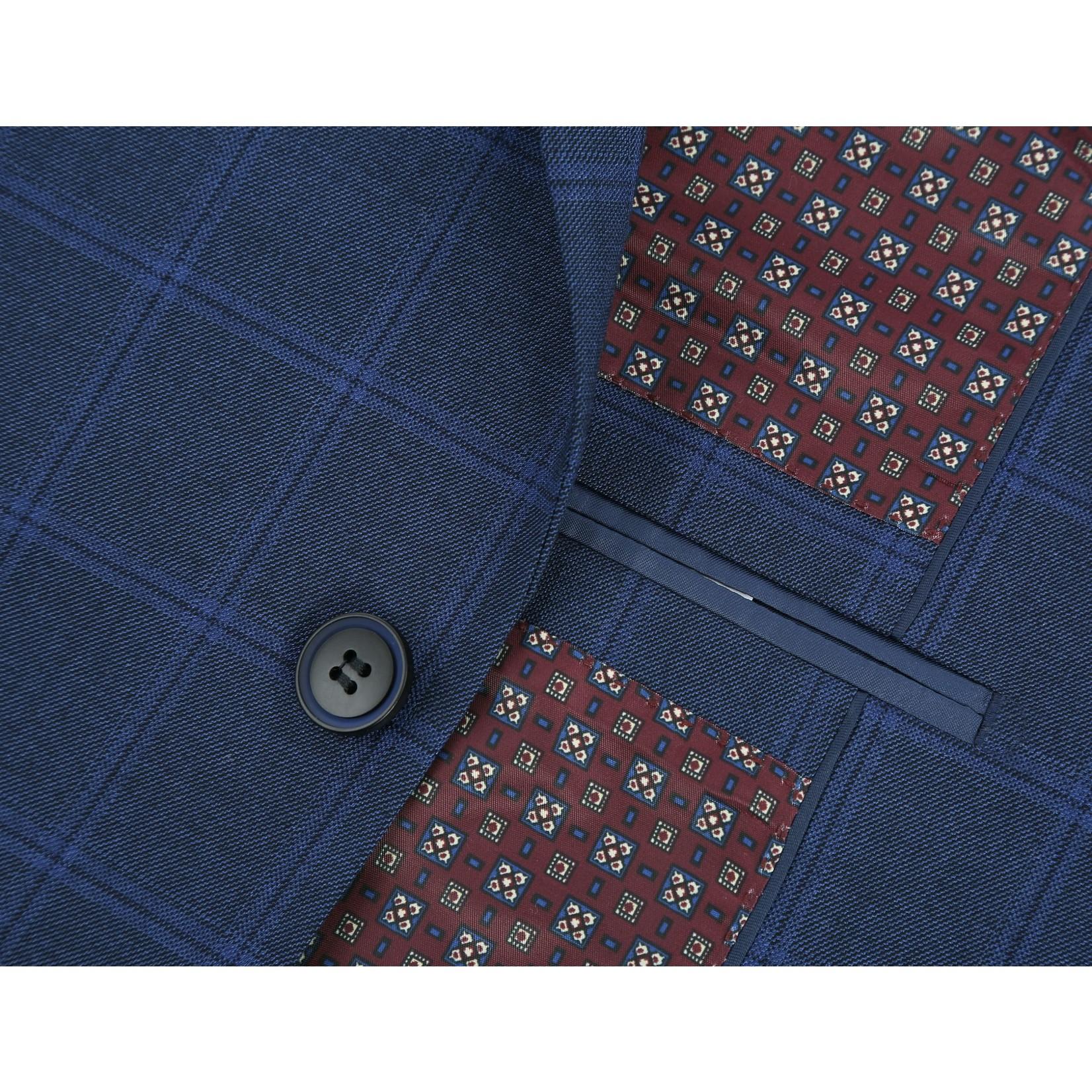 Renoir Renoir Slim Fit Suit 286-8 Blue Windowpane