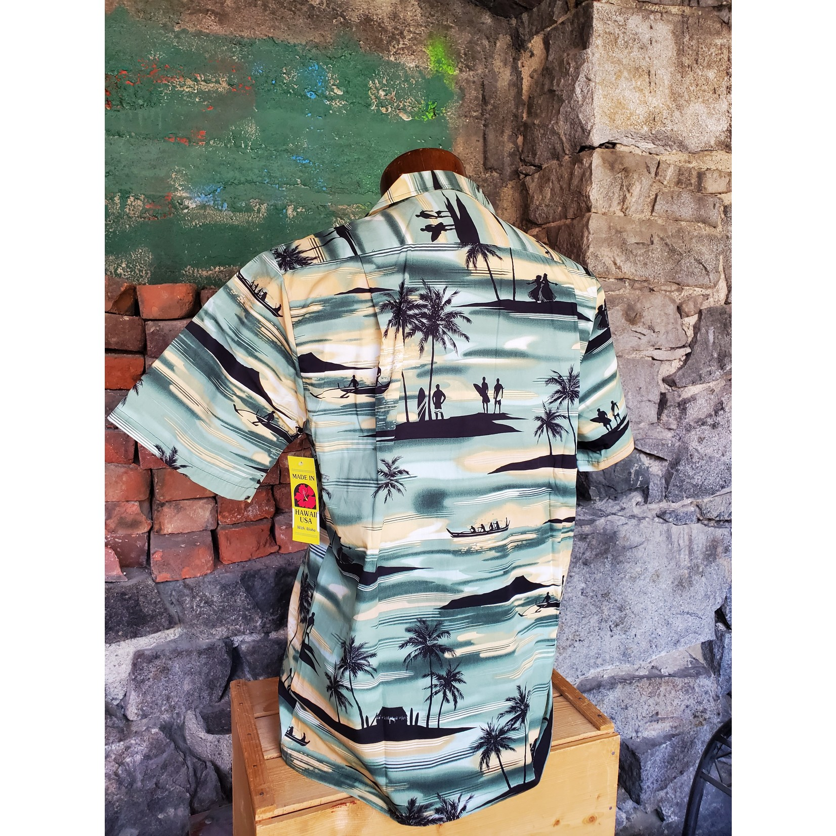 RJC Authentic Hawaiian Shirt - Green Silhouettes