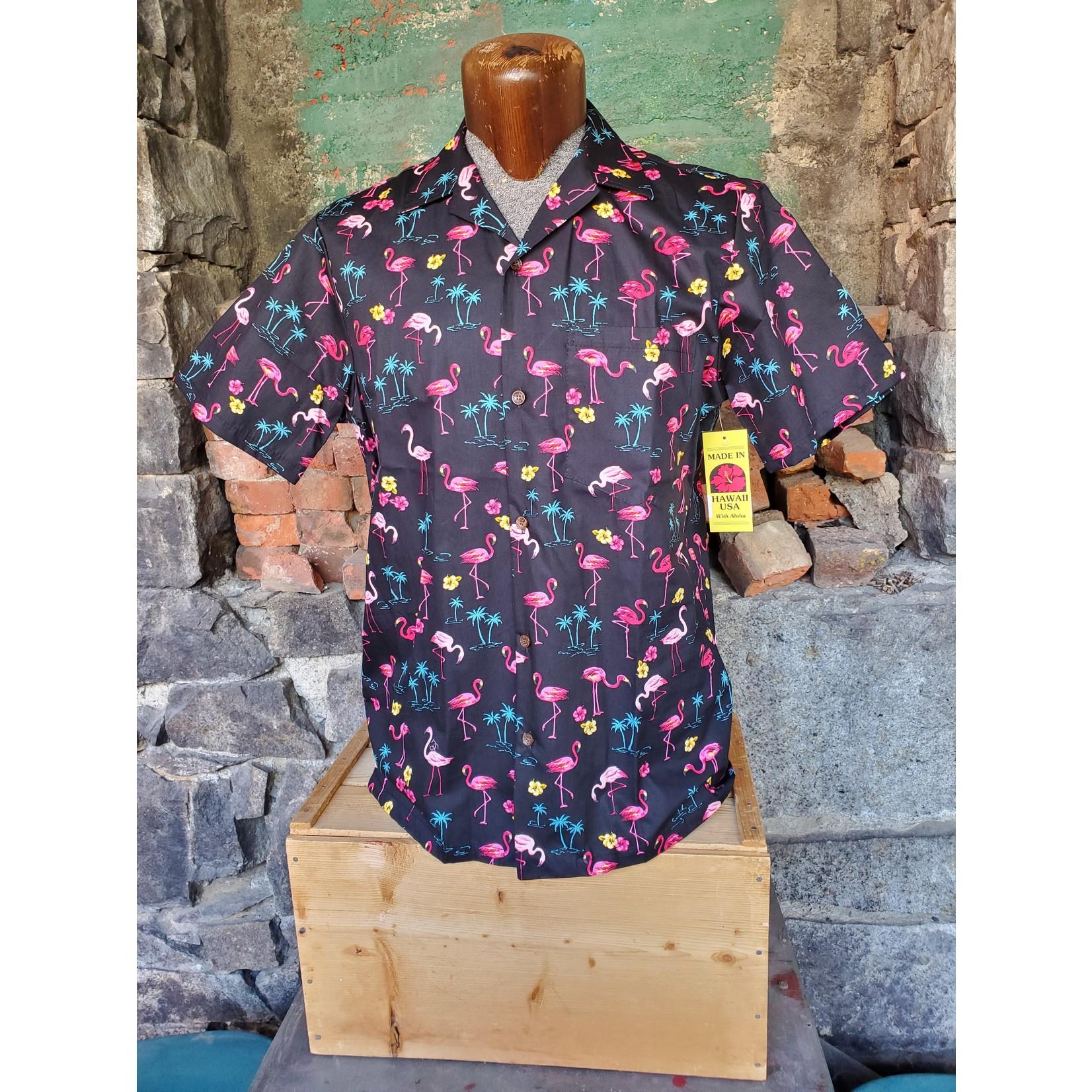 RJC Authentic Hawaiian Shirt - Black Flamingos