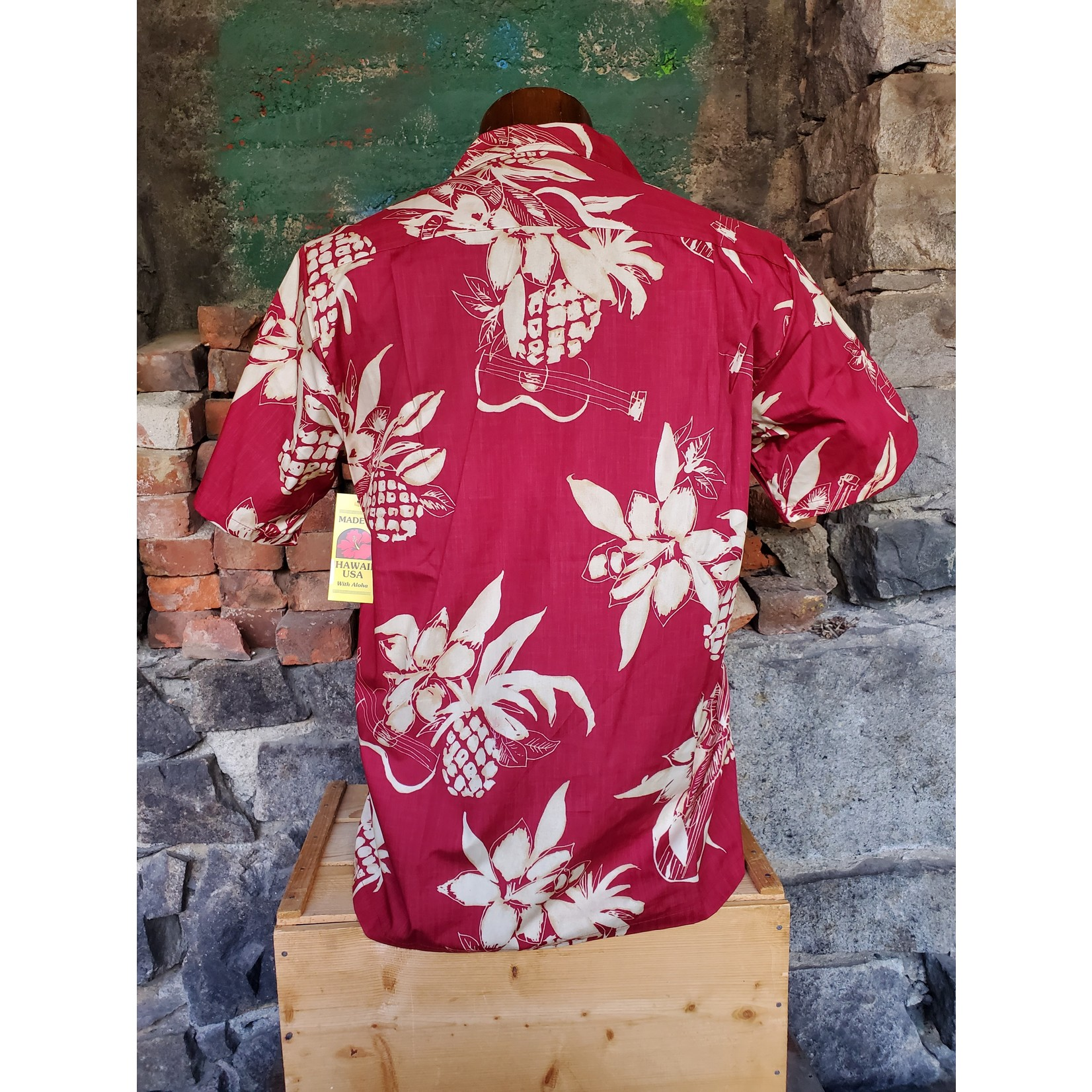 RJC Authentic Hawaiian Shirt - Red & Beige Floral