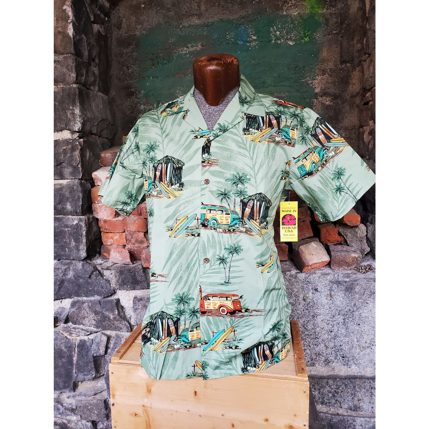 RJC Authentic Hawaiian Shirt - Green Surfboards
