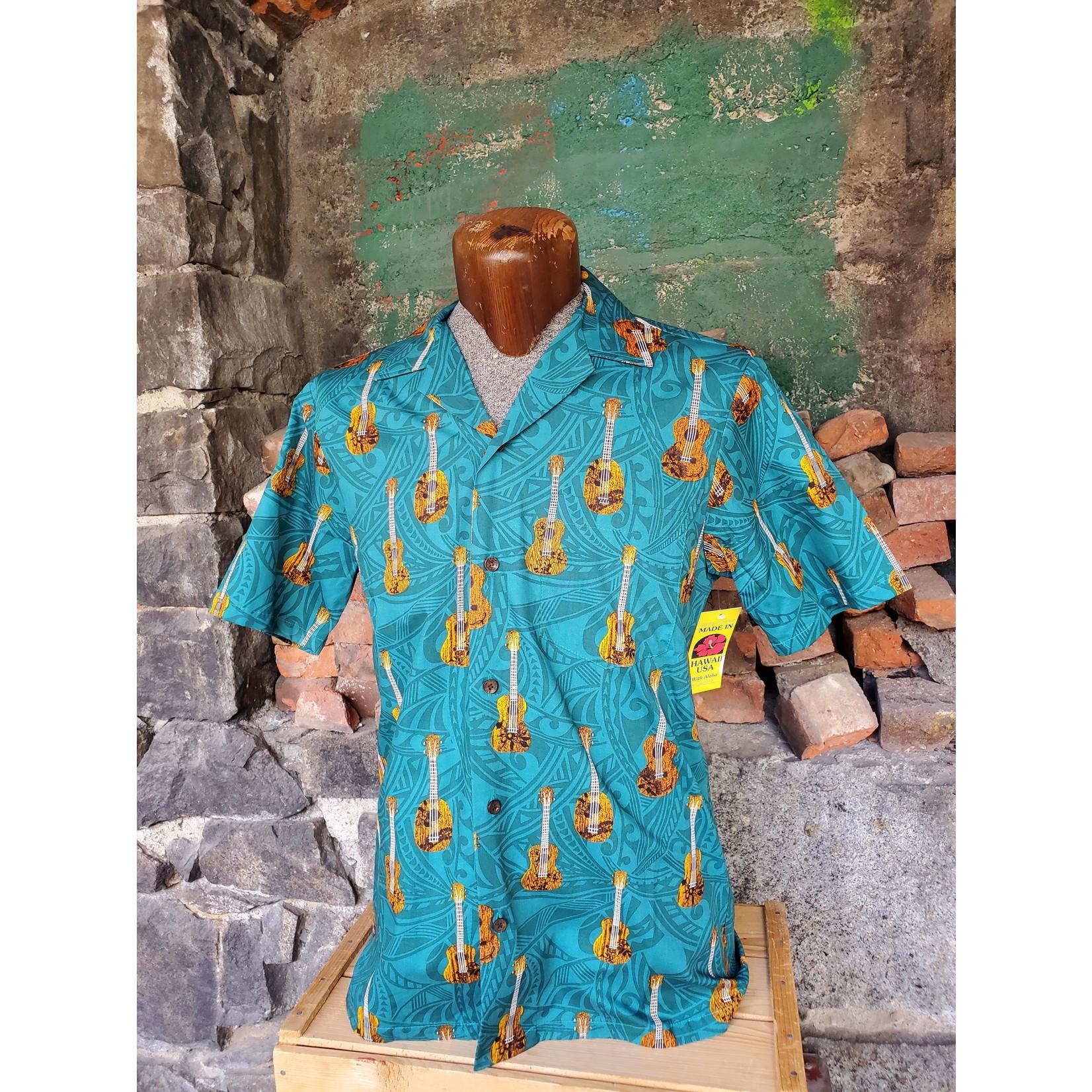 RJC Authentic Hawaiian Shirt - Teal Guitars