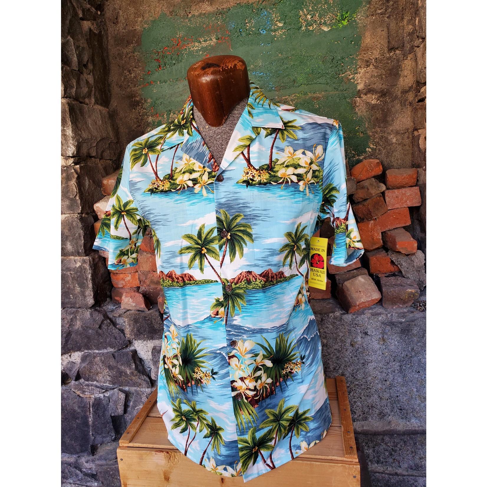 RJC Authentic Hawaiian Shirt - Turquoise Palm Trees