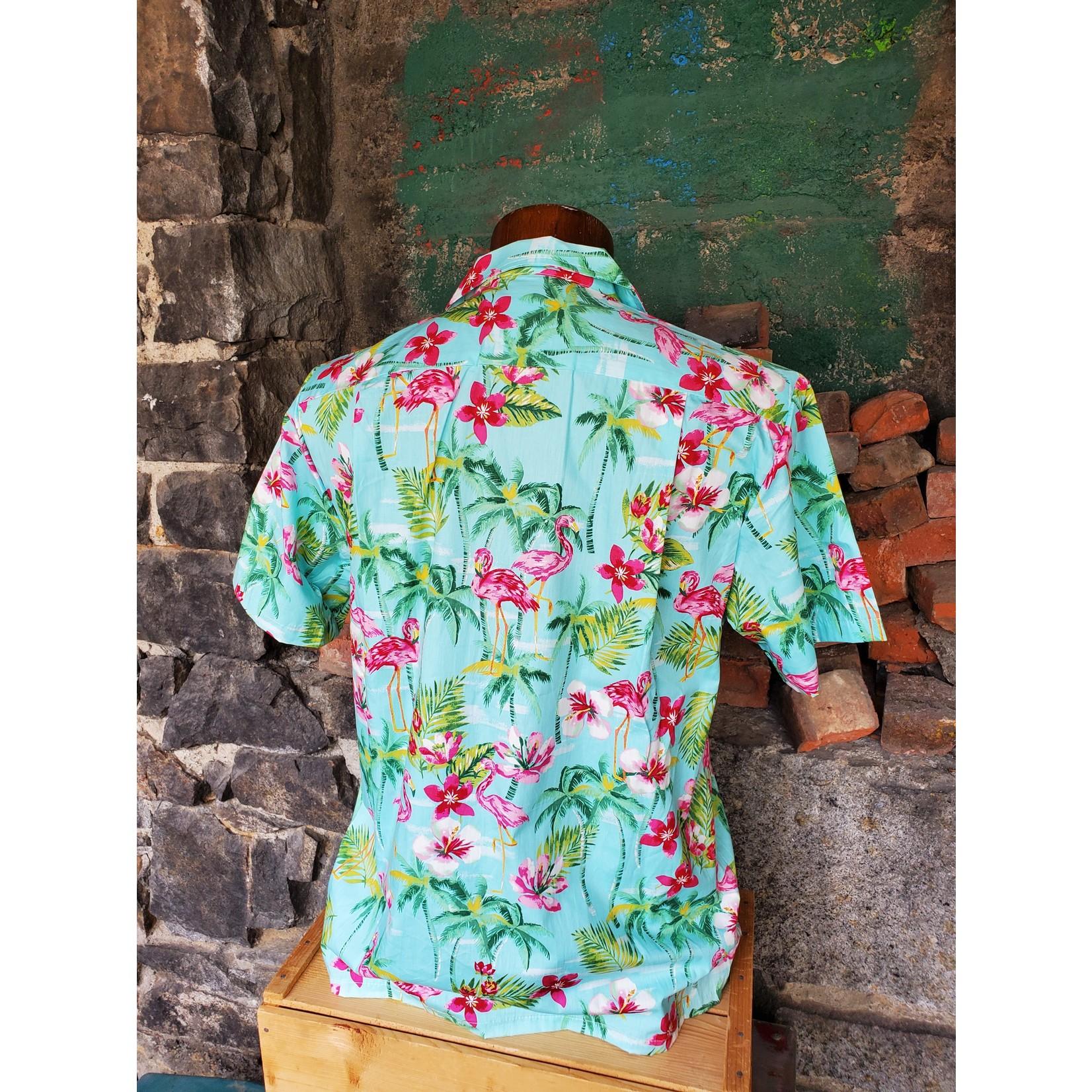 RJC Authentic Hawaiian Shirt - Turquoise Flamingo Floral
