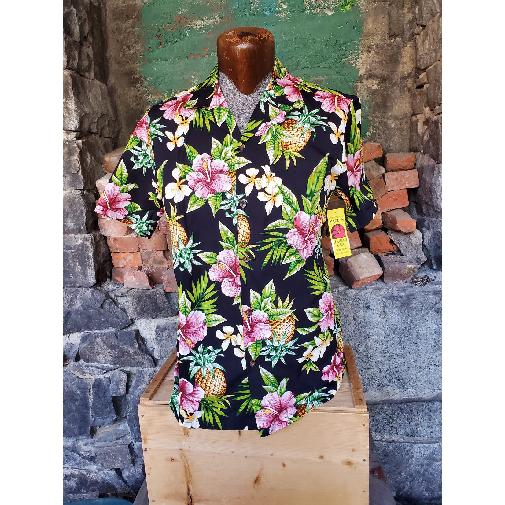 RJC Authentic Hawaiian Shirt - Black Hibiscus