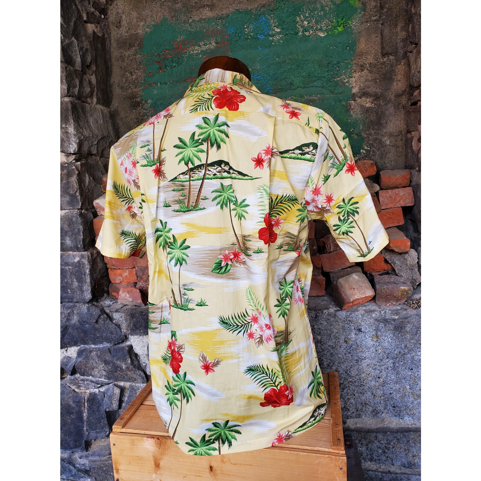 RJC Authentic Hawaiian Shirt - Yellow Palm Trees
